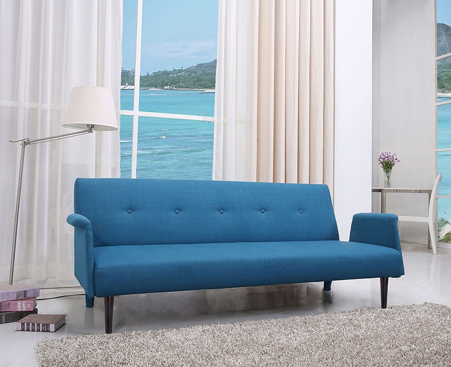 Aqua Sofas In Recent Amazon: Gold Sparrow Westminster Convertible Sofa Bed, Blue (View 2 of 15)