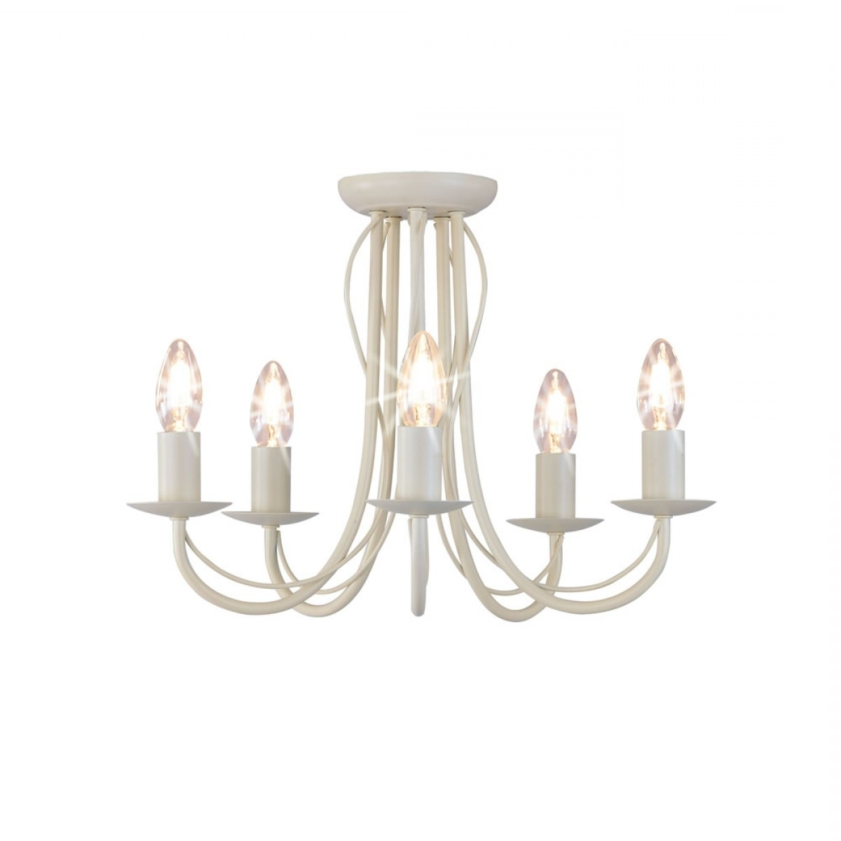 Arm Chandelier Metal Ceiling Light Fitting Cream Within Newest Cream Chandelier Lights (View 1 of 15)