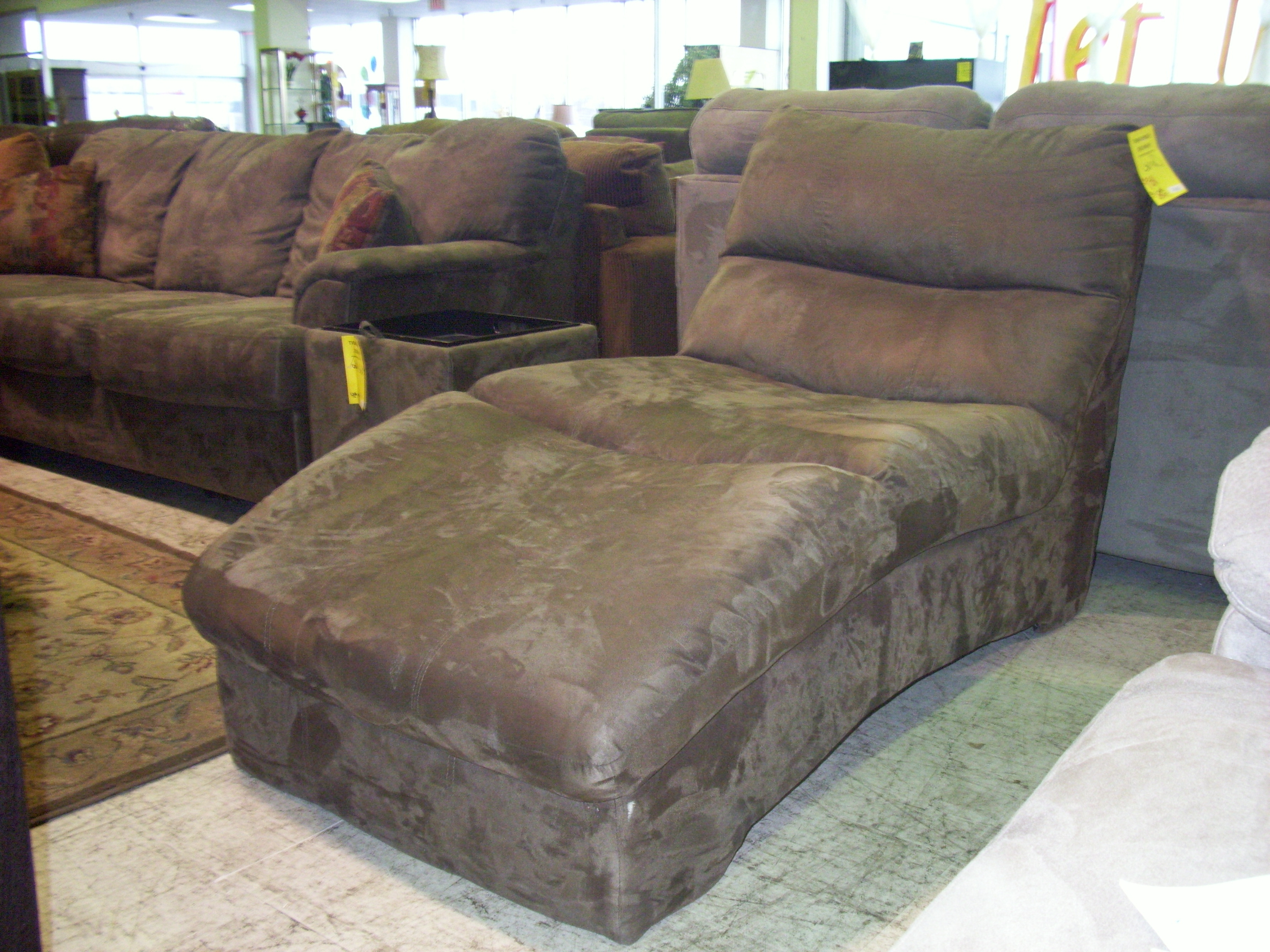 Armless Chaise Lounges Inside Popular Decoration: Standing Magnificent Microfiber Chaise Lounge For (View 2 of 15)