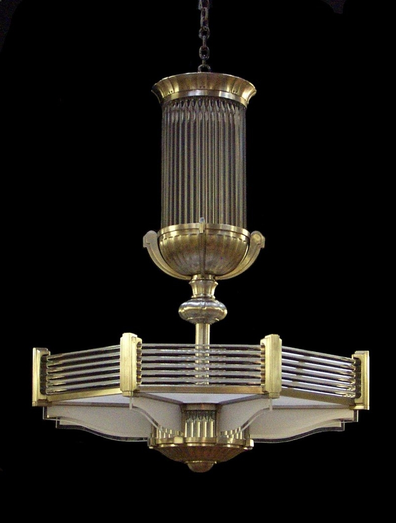 Art Deco Chandelier In A Style Similar To That Of Atelier Petitot With Newest Art Deco Chandelier (View 3 of 15)