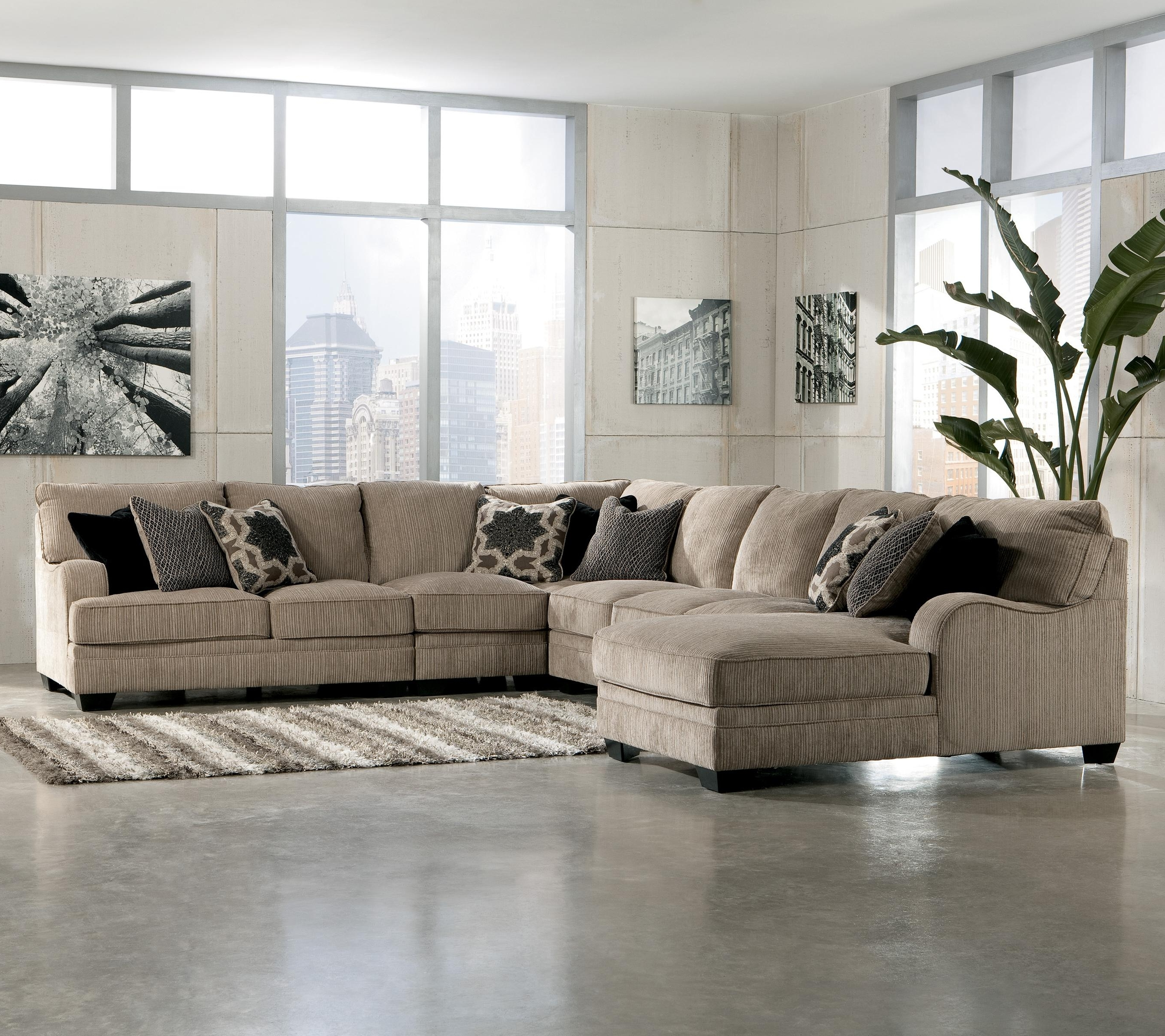 Ashley Furniture Chaise Lounge Chairs Within Recent Living Room Sectional: Katisha 4 Piece Sectionalashley (View 7 of 15)
