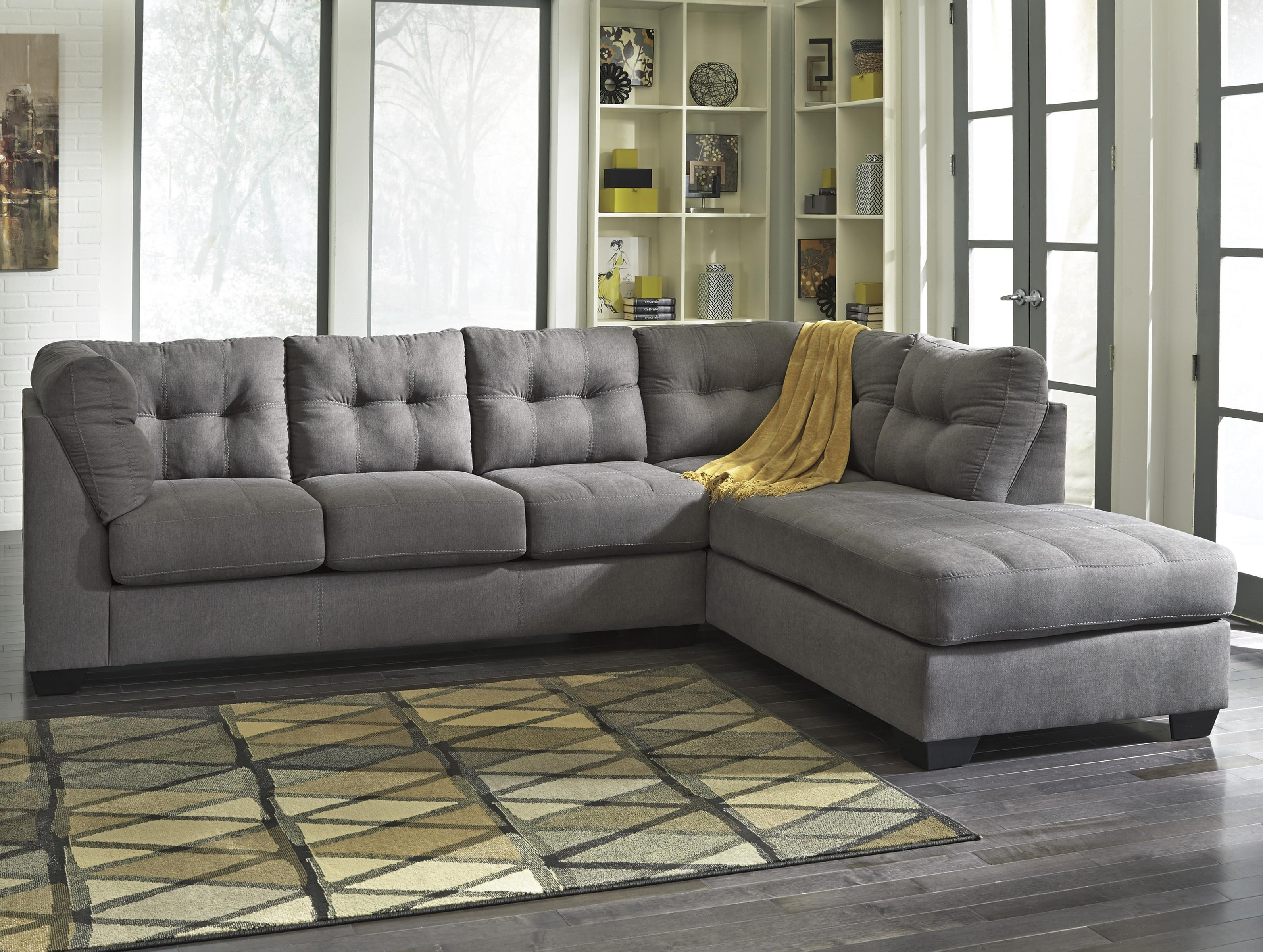 Ashley Furniture Chaise Sofas Regarding Trendy Benchcraft Maier – Charcoal 2 Piece Sectional W/ Sleeper Sofa (View 2 of 15)