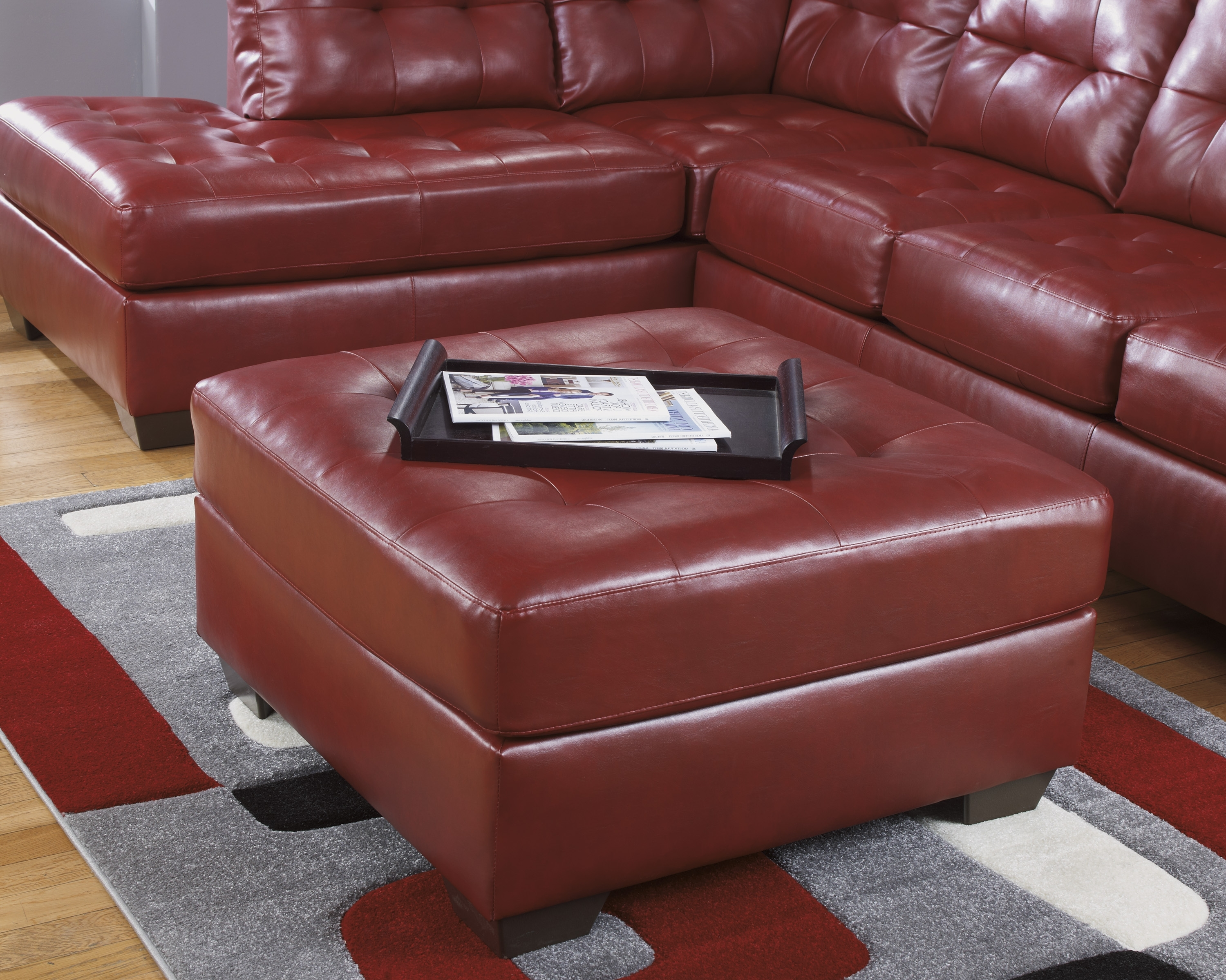 Ashley Furniture Leather Sectionals, Ashley Furniture Sofa Throughout Favorite Red Sectional Sofas With Ottoman (View 12 of 15)