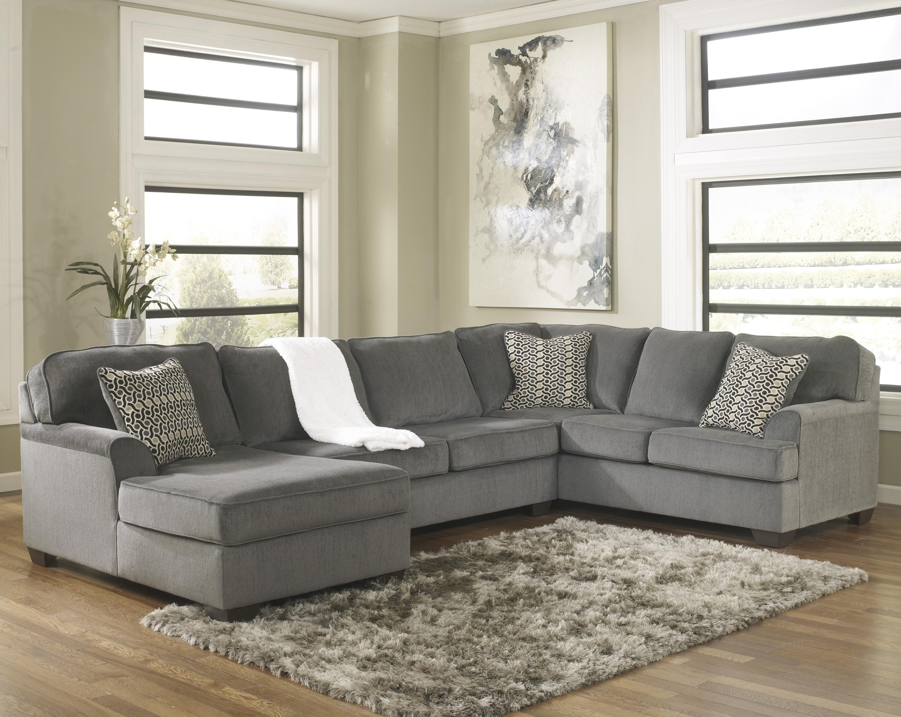 Ashley Furniture Sectionals With Chaise Intended For Recent Ashley Furniture Loric – Smoke Contemporary 3 Piece Sectional With (View 3 of 15)