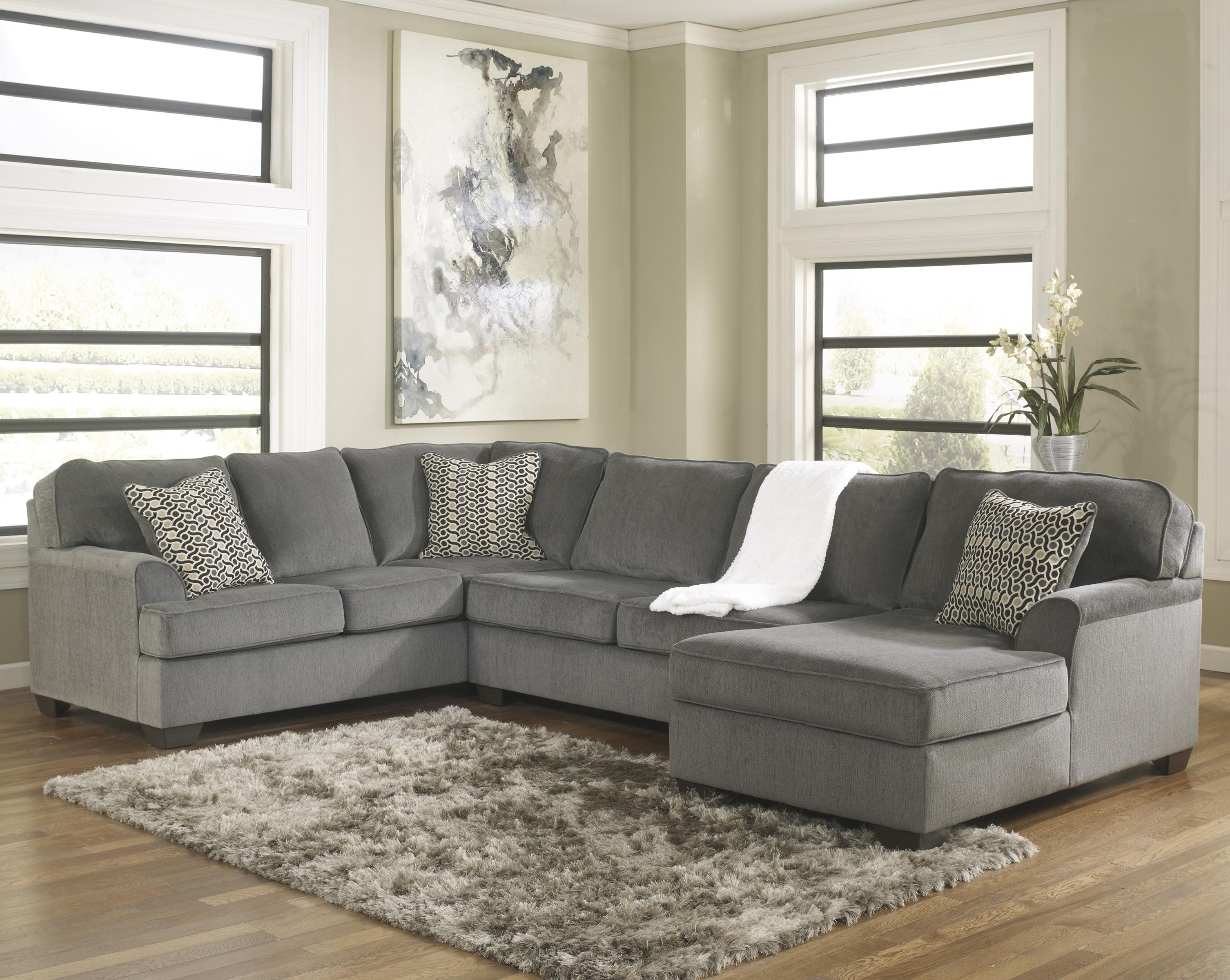 Ashley Furniture Sofa Chaises Intended For Well Liked Ashley Furniture Loric – Smoke Contemporary 3 Piece Sectional With (View 11 of 15)