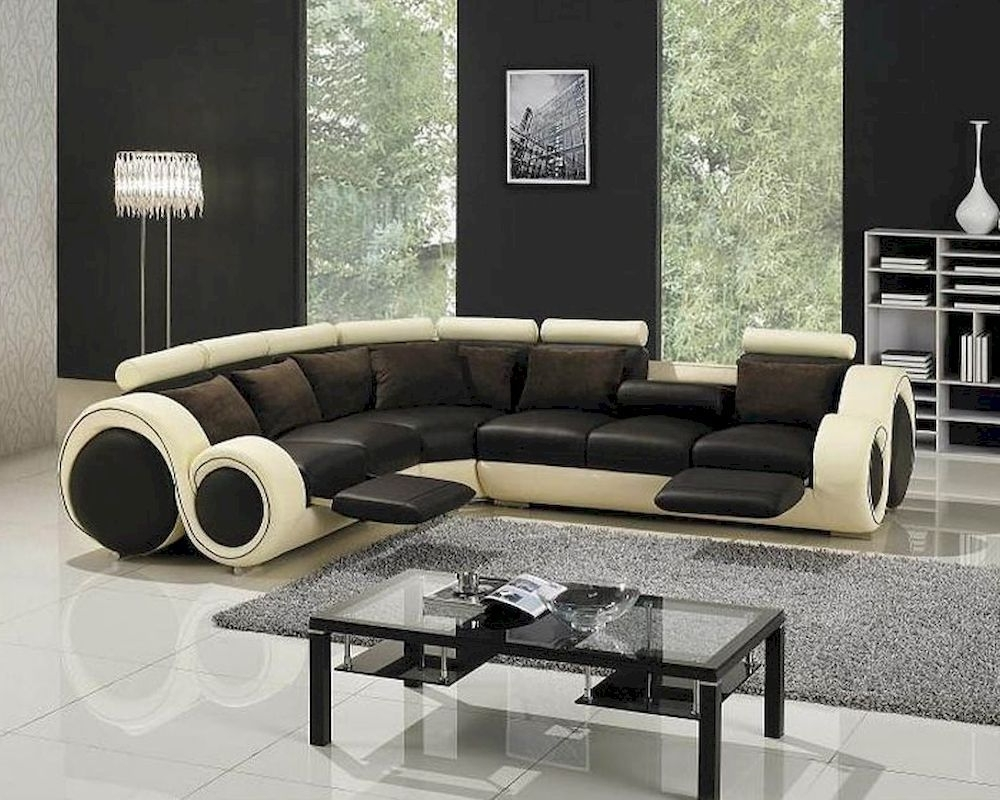 Astonishing Modern Two Tone Leather Sectional Sofa Set With In Newest Two Tone Sofas (View 13 of 15)