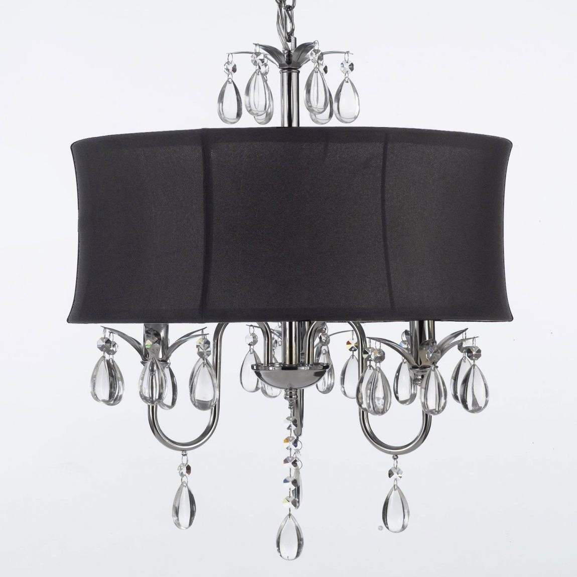 Astounding Black Drum Shade Crystal Chandeliers With Black Shade Pertaining To Latest Crystal Chandeliers With Shades (View 12 of 15)