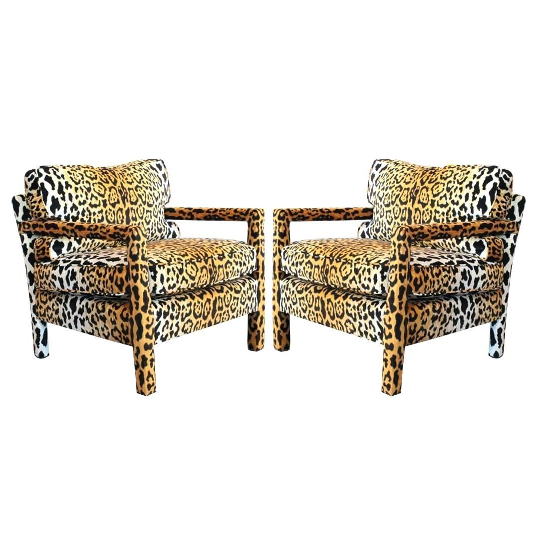 Awesome Pair Of Leopard Parson Chairs In The Style Milo Baughman With Recent Leopard Print Chaise Lounges (View 10 of 15)