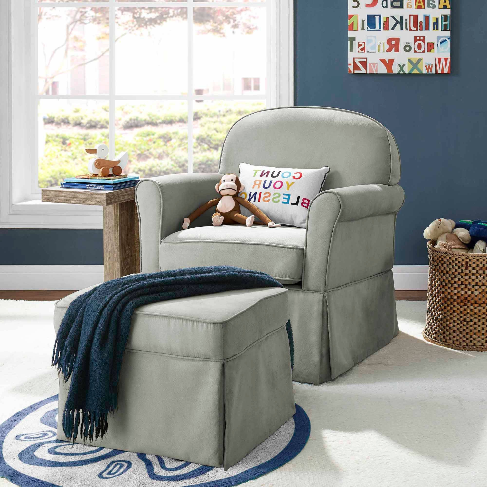 Baby Relax Evan Swivel Glider And Ottoman Gray – Walmart Throughout Well Liked Gliders With Ottoman (View 3 of 15)