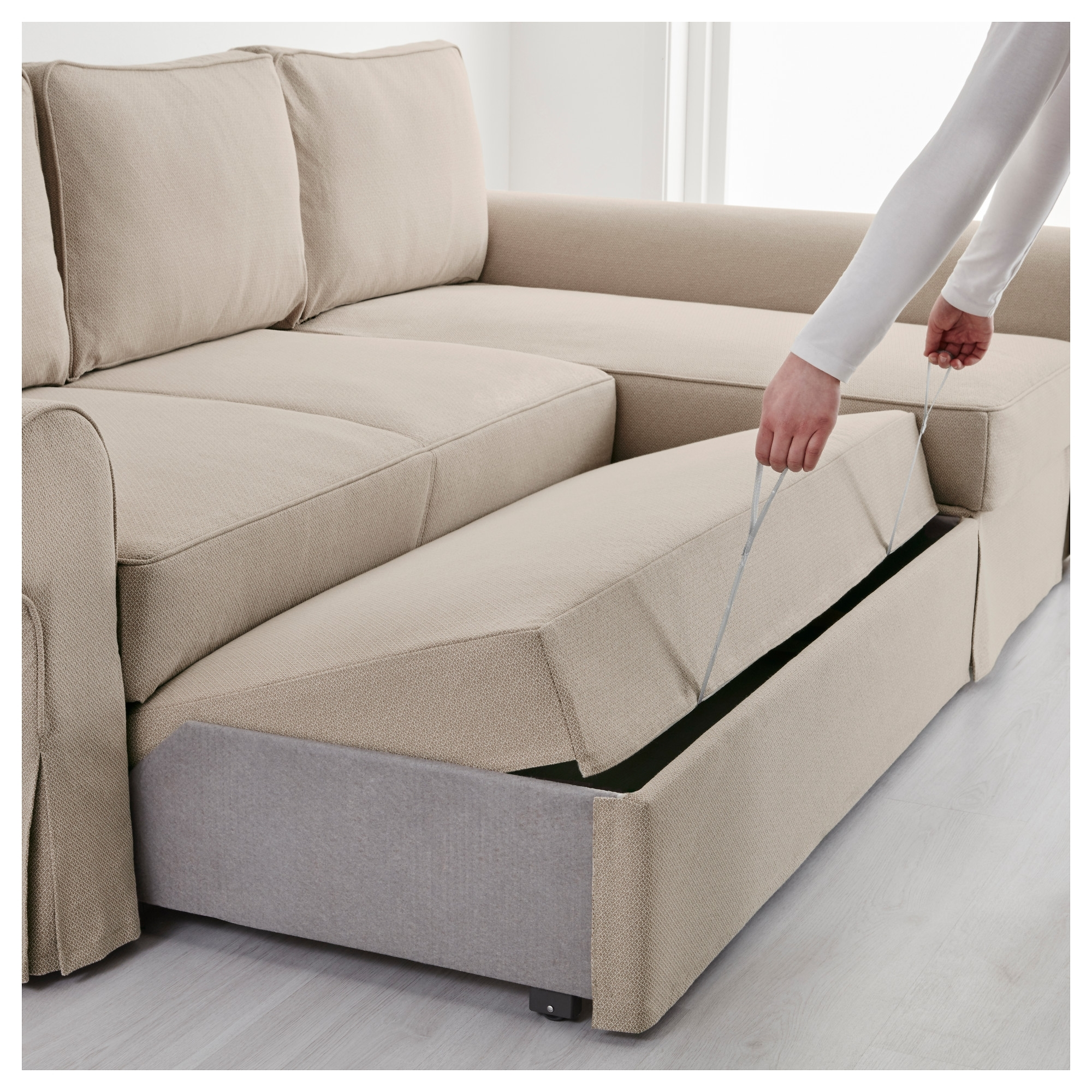 Backabro Sofa Bed With Chaise Longue – Nordvalla Dark Grey – Ikea For Well Known Ikea Sofa Beds With Chaise (View 7 of 15)