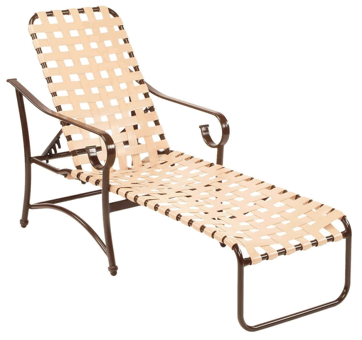 Barbados Cross Weave Vinyl Strap Chaise Lounge – Commercial Regarding Most Up To Date Chaise Lounge Strap Chairs (View 3 of 15)