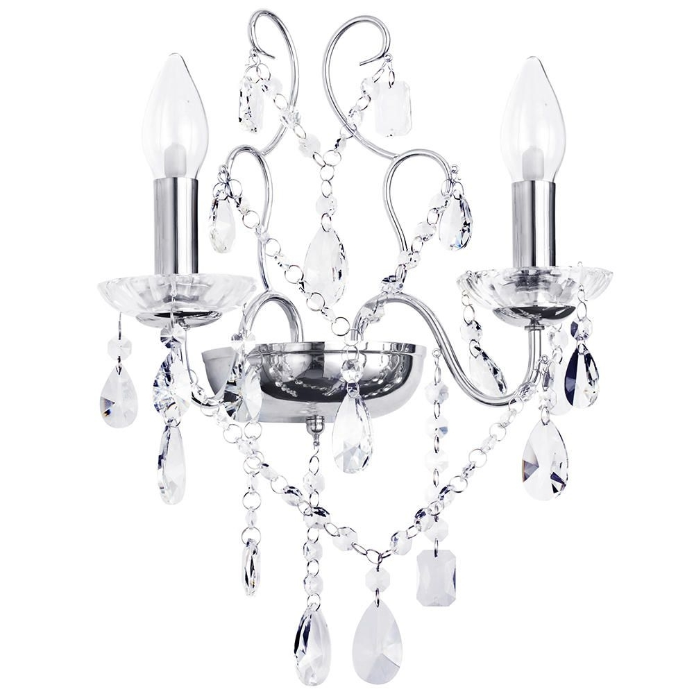Bathroom Chandelier Wall Lights Regarding Popular Marquiswaterford – Annalee Led Bathroom Wall Light – Chrome From (View 5 of 15)