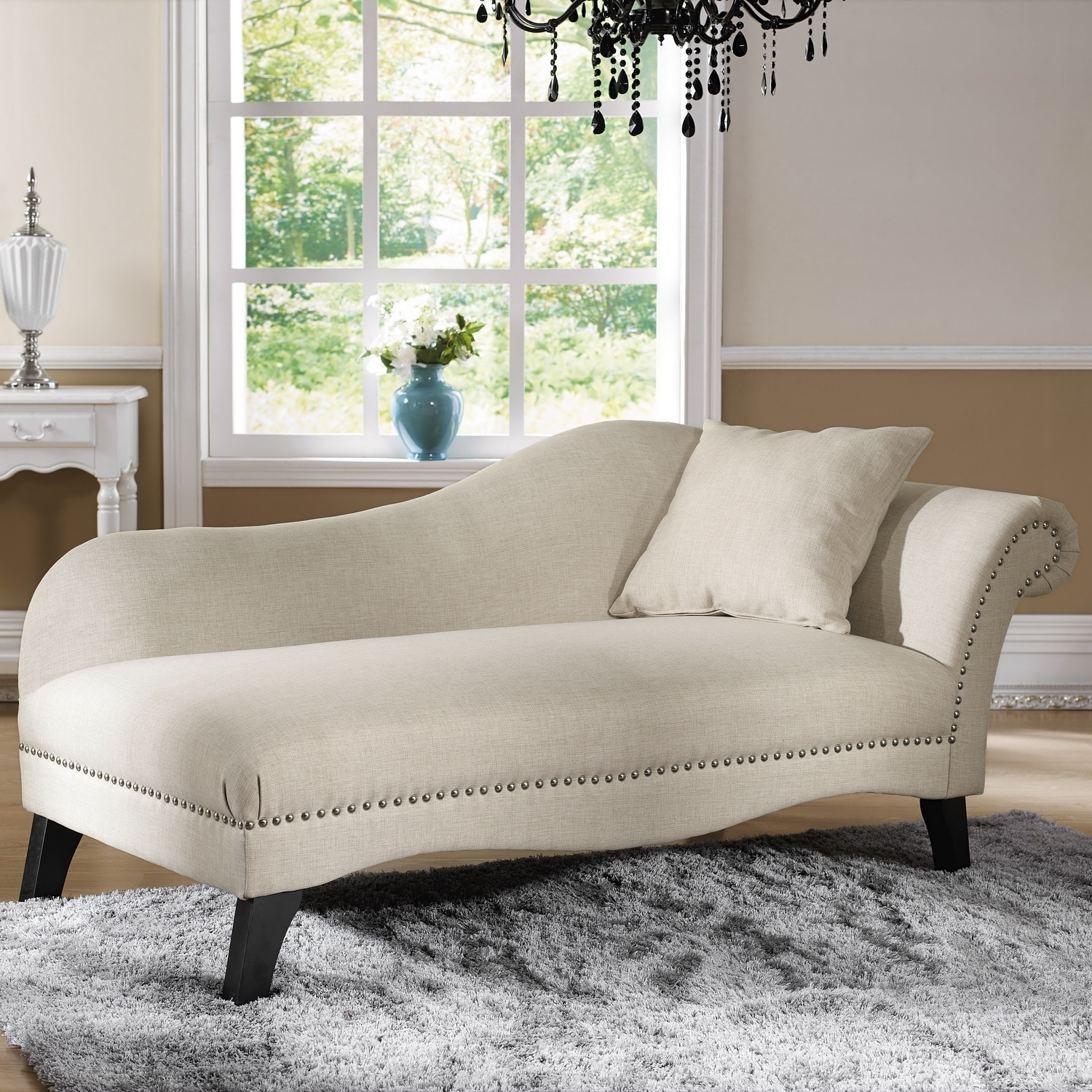 Baxton Studio 'phoebe' Beige Linen Modern Chaise Lounge – Free Intended For Widely Used Beige Chaise Lounges (View 6 of 15)