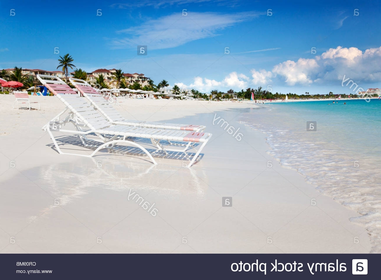 Beach Chaises For 2018 Beach Chaises At Water's Edge On The Soft White Sands Of Grace Bay (View 10 of 15)