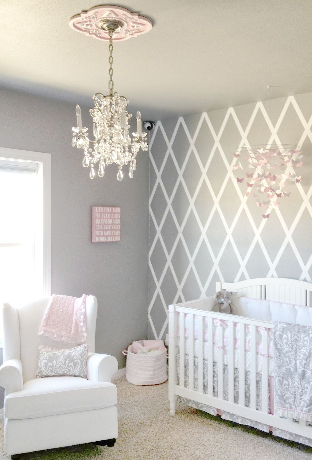 Beautiful Gray And Pink Nursery Features Our Stella Gray Baby For 2018 Crystal Chandeliers For Baby Girl Room (View 5 of 15)