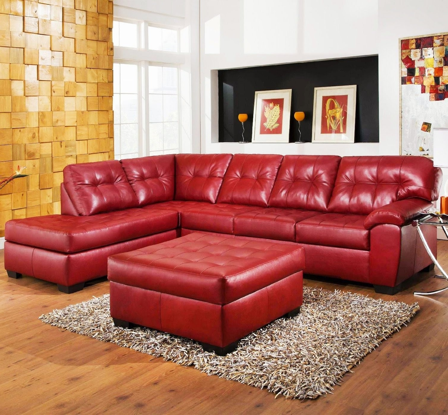 Beautiful Red Leather Sectional Sofa With Chaise Photos With Regard To Well Liked Red Sectional Sofas With Chaise (View 3 of 15)