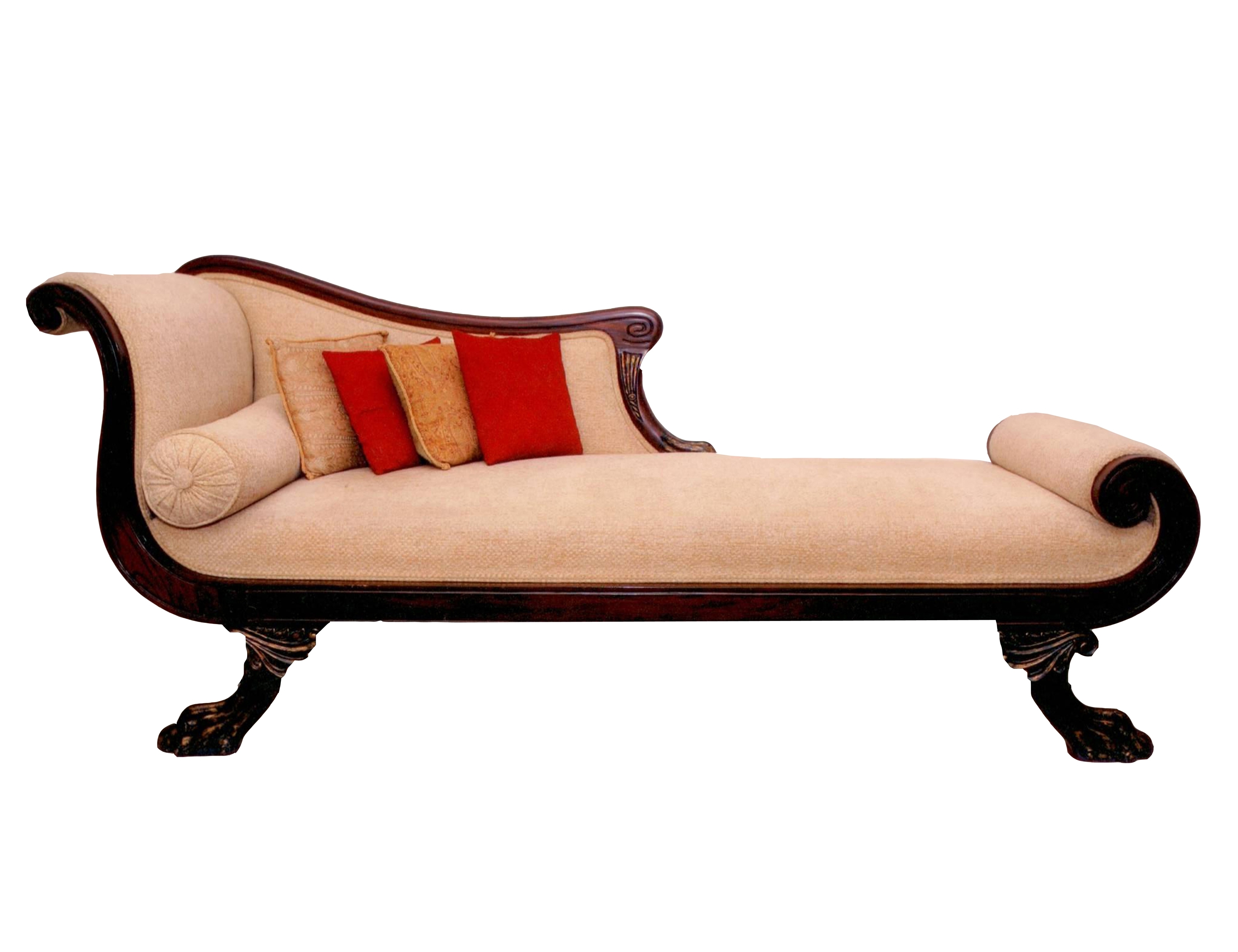 Beige Chaise Lounges For Best And Newest Furniture: Interesting Beige Leather Chaise Lounge With Dark Wood (View 9 of 15)