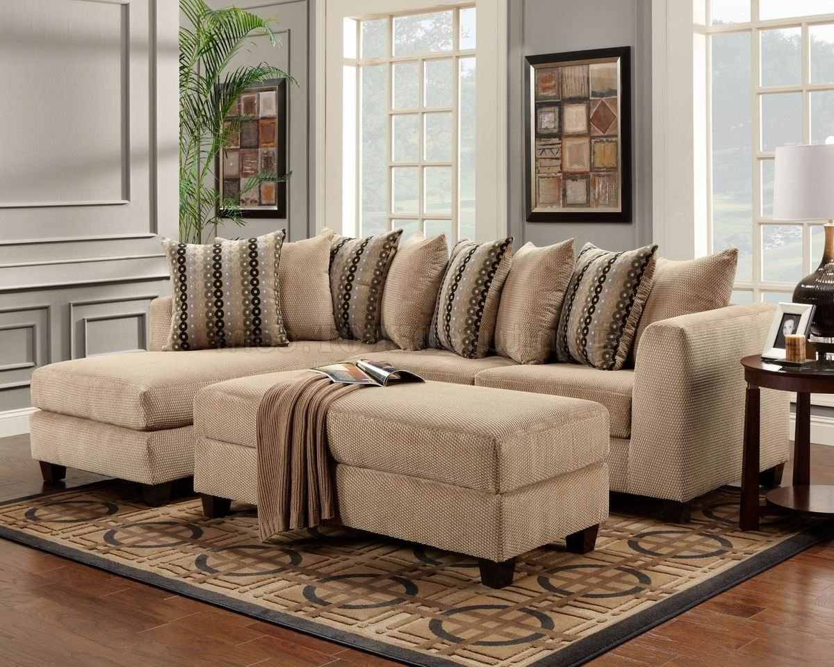 Beige Fabric Modern Elegant Sectional Sofa W/optional Ottoman Intended For Most Current Elegant Sectional Sofas (View 13 of 15)