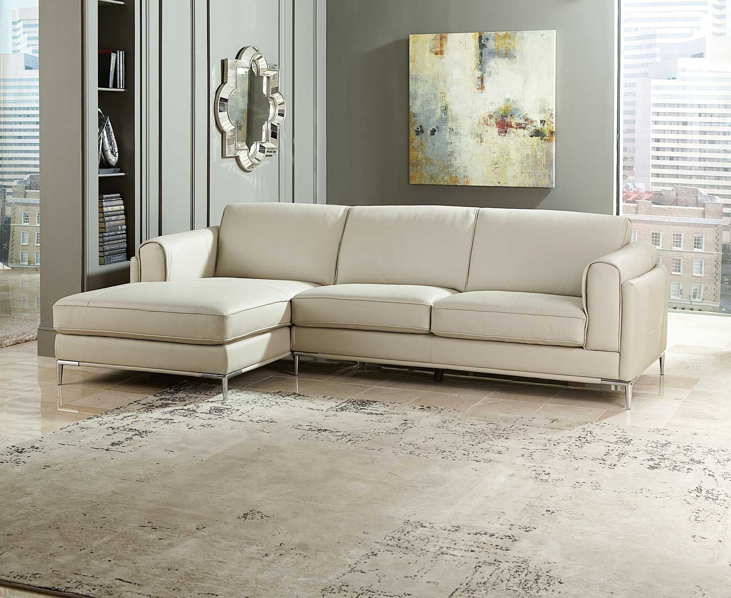 Beige Sectional Sofas With Regard To Most Recently Released Homelegance Hugo Sectional Sofa – Beige Top Grain Leather & Split (View 6 of 15)