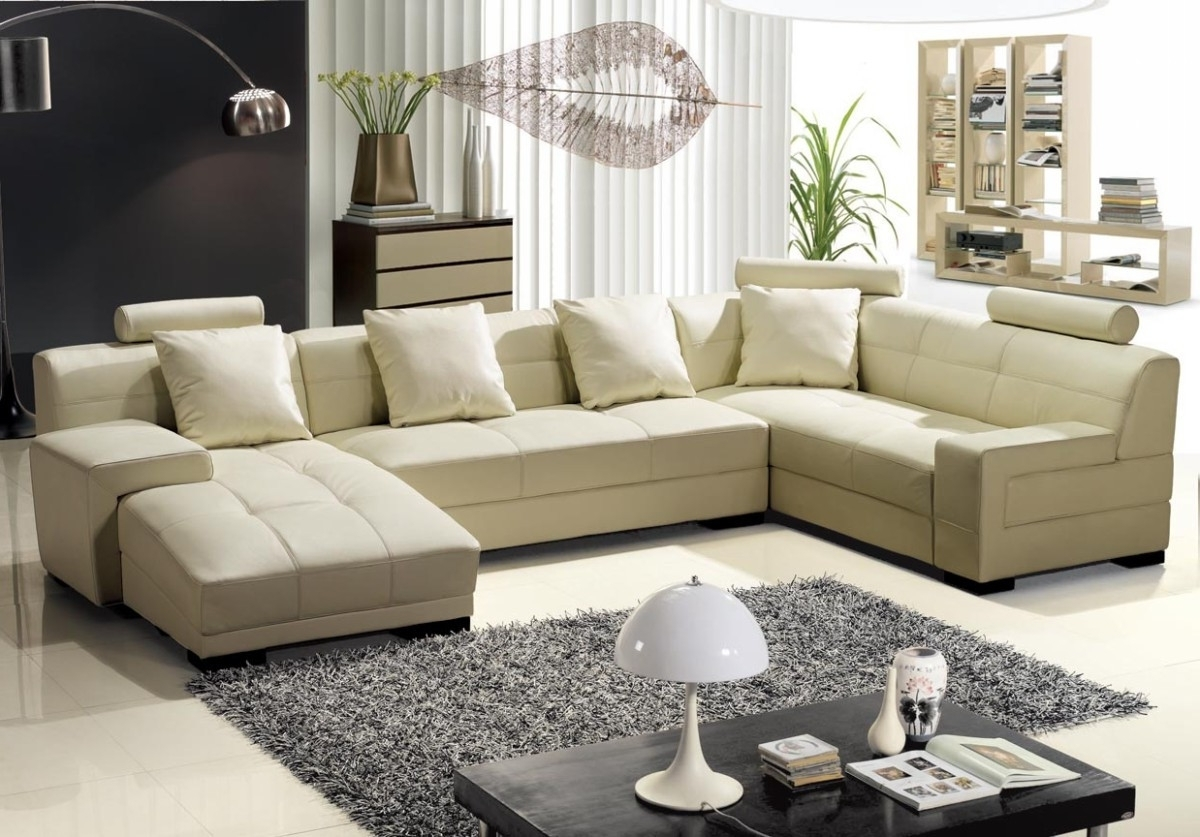 Beige Sectional Sofas Within Well Liked Modern Beige Leather Sectional Sofa (View 7 of 15)