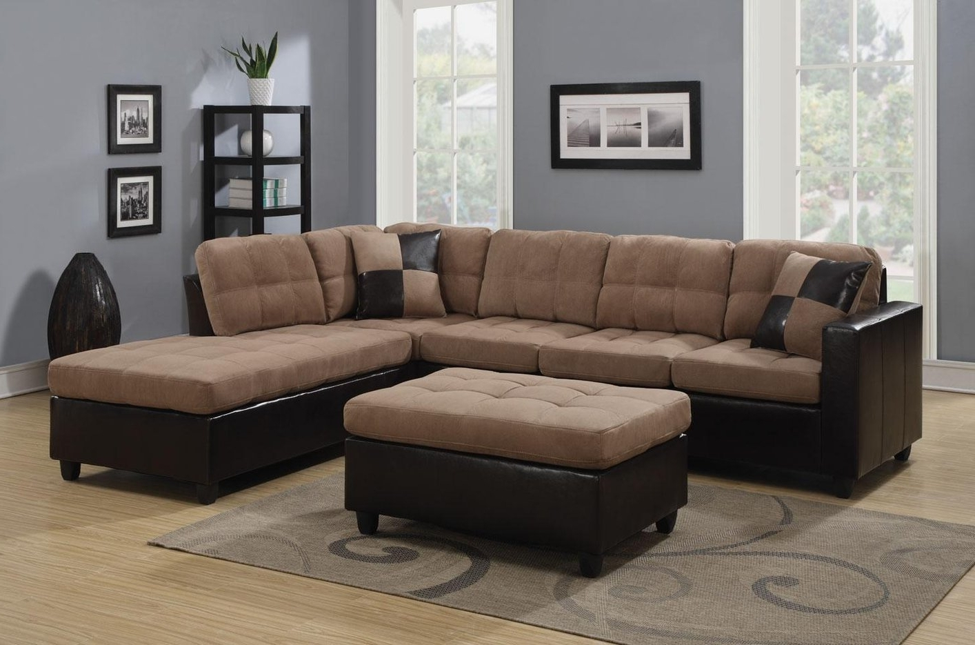 Beige Sectionals With Chaise With Fashionable Sectional Sofa Design: Amazing Beige Sectional Sofas Beige Leather (View 8 of 15)