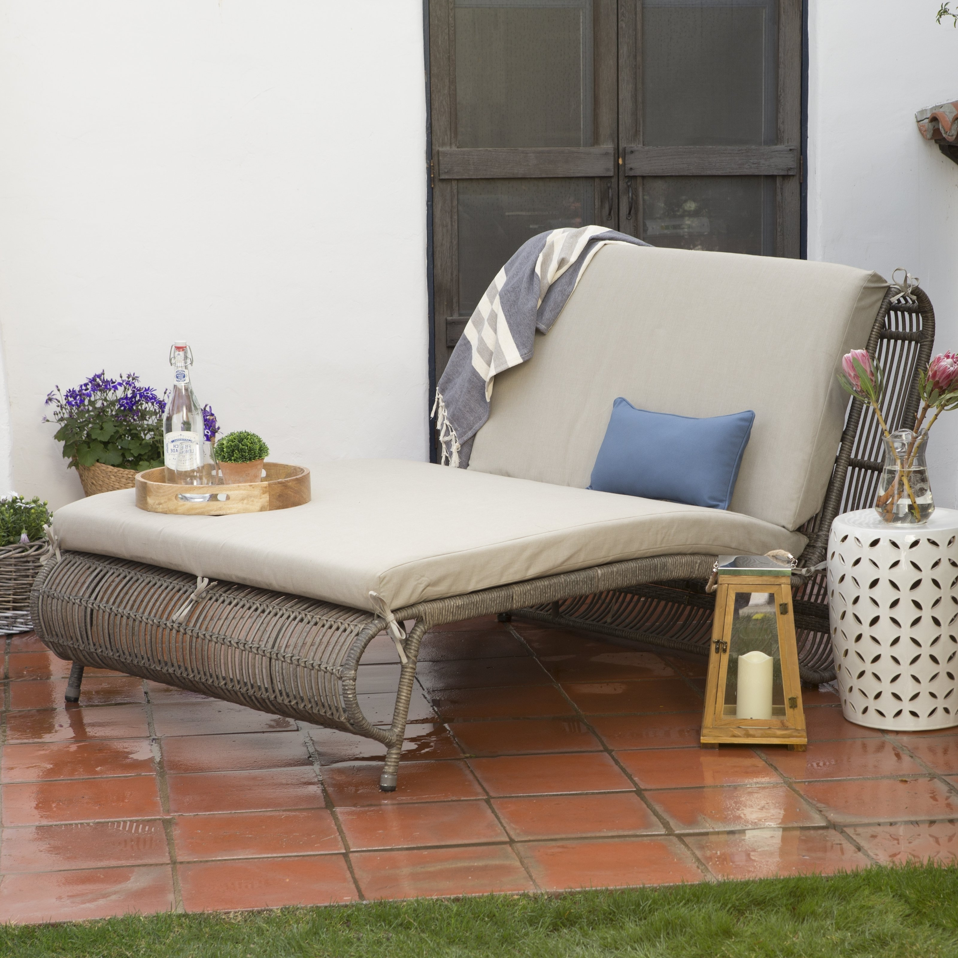 Belham Living Batiki Sun Bed Double Chaise Lounge With Cushion Inside Best And Newest Chaise Lounge Beds (View 4 of 15)