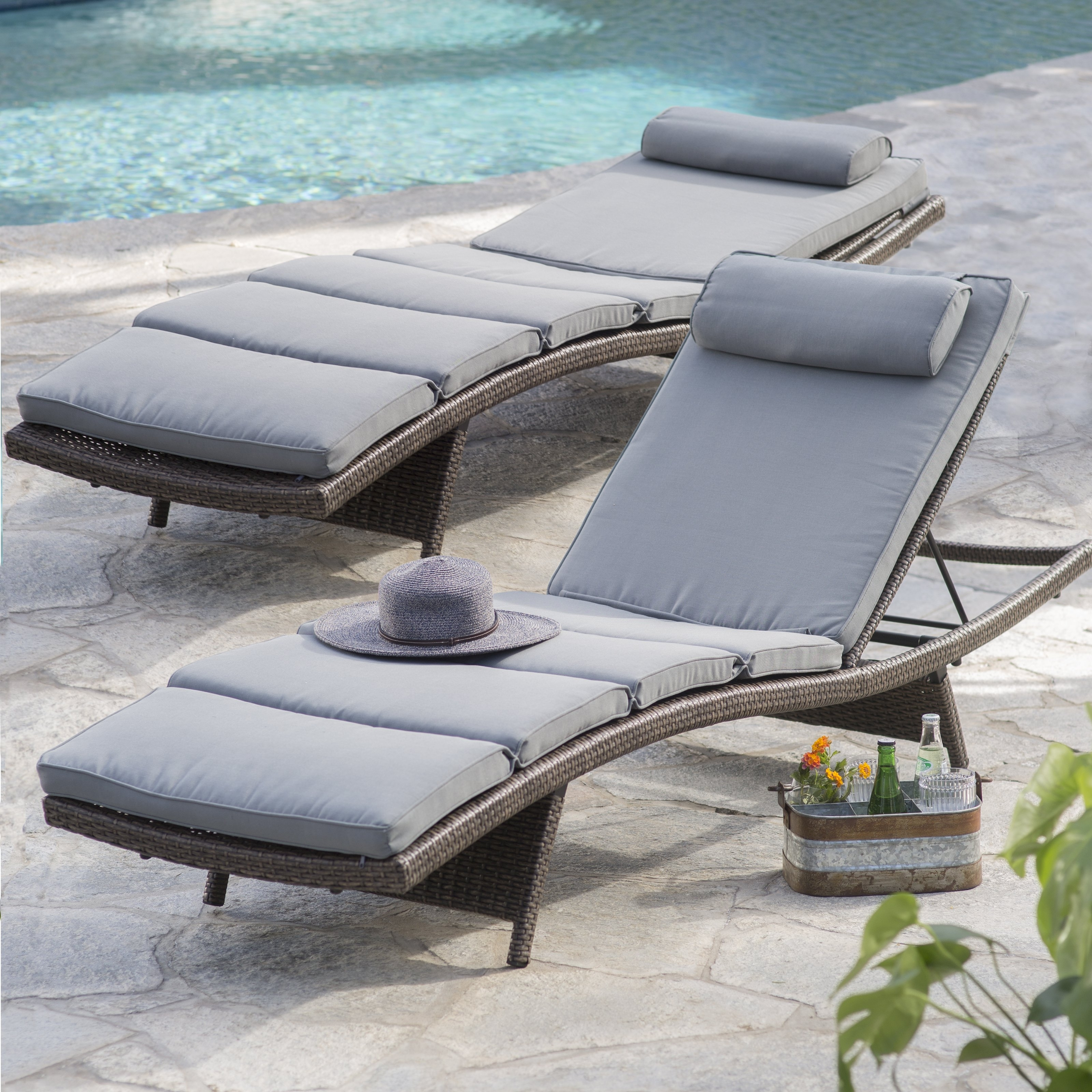 Belham Living Batiki Sun Bed Double Chaise Lounge With Cushion Regarding Most Popular Patio Chaise Lounges (View 4 of 15)