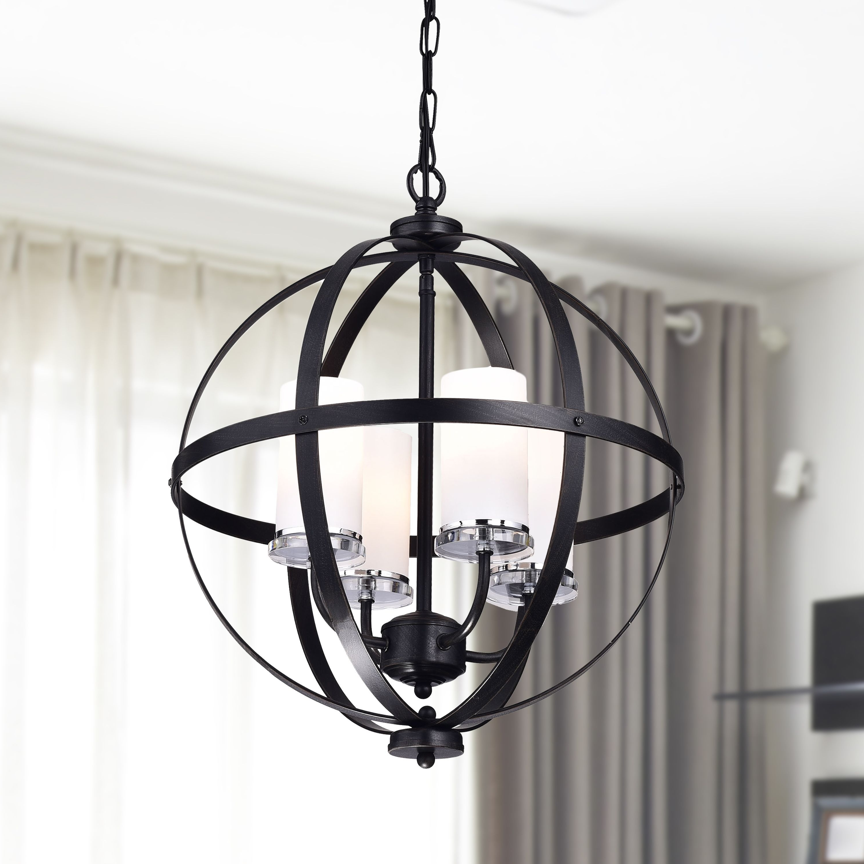Benita Antique Black Iron Orb Chandelier With Glass Globe (Antique With Regard To Well Liked Antique Black Chandelier (View 5 of 15)