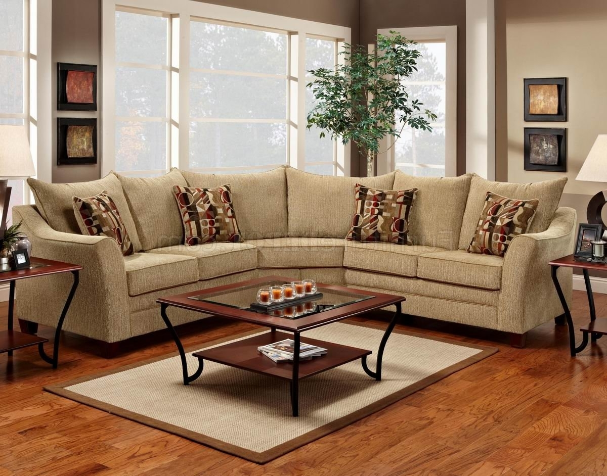Best And Newest Beige Sectional Sofas Inside Beige Fabric Elegant Modern Sectional Sofa (View 8 of 15)