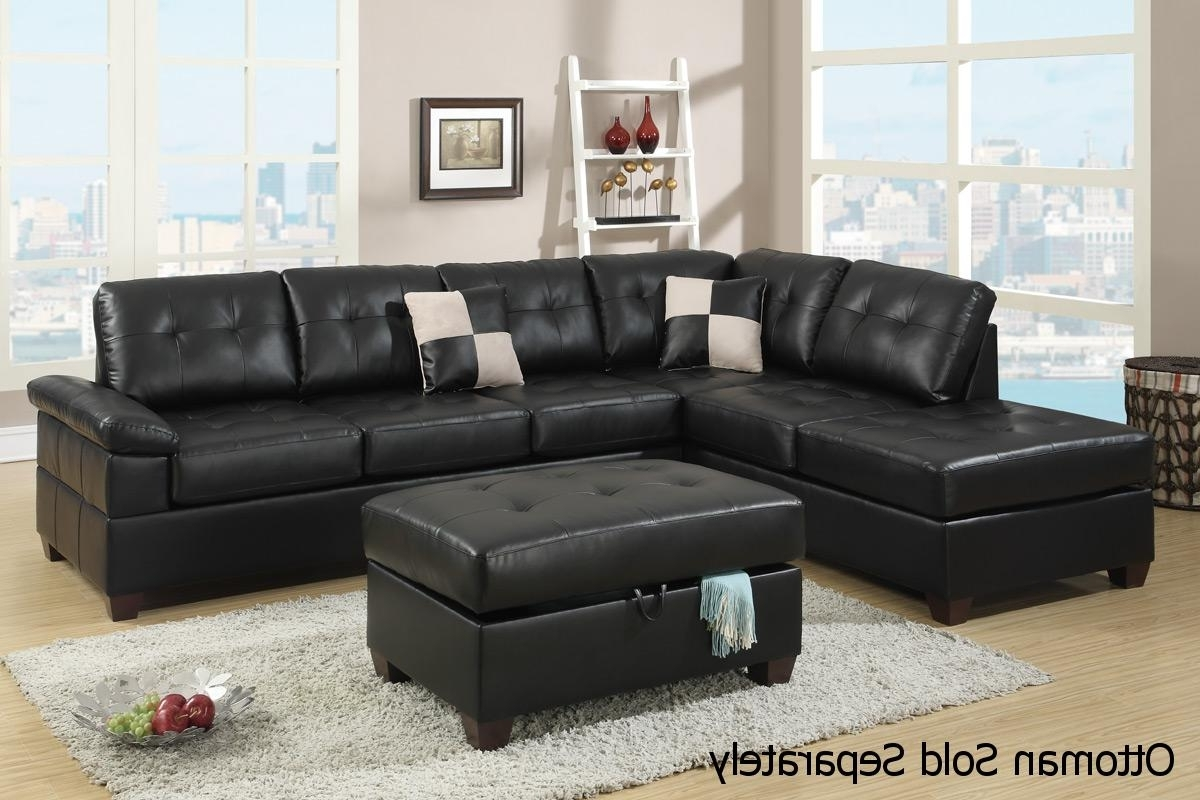 Best And Newest Black Leather Sectionals With Ottoman With Regard To Black Leather Sectional Sofa – Steal A Sofa Furniture Outlet Los (View 10 of 15)
