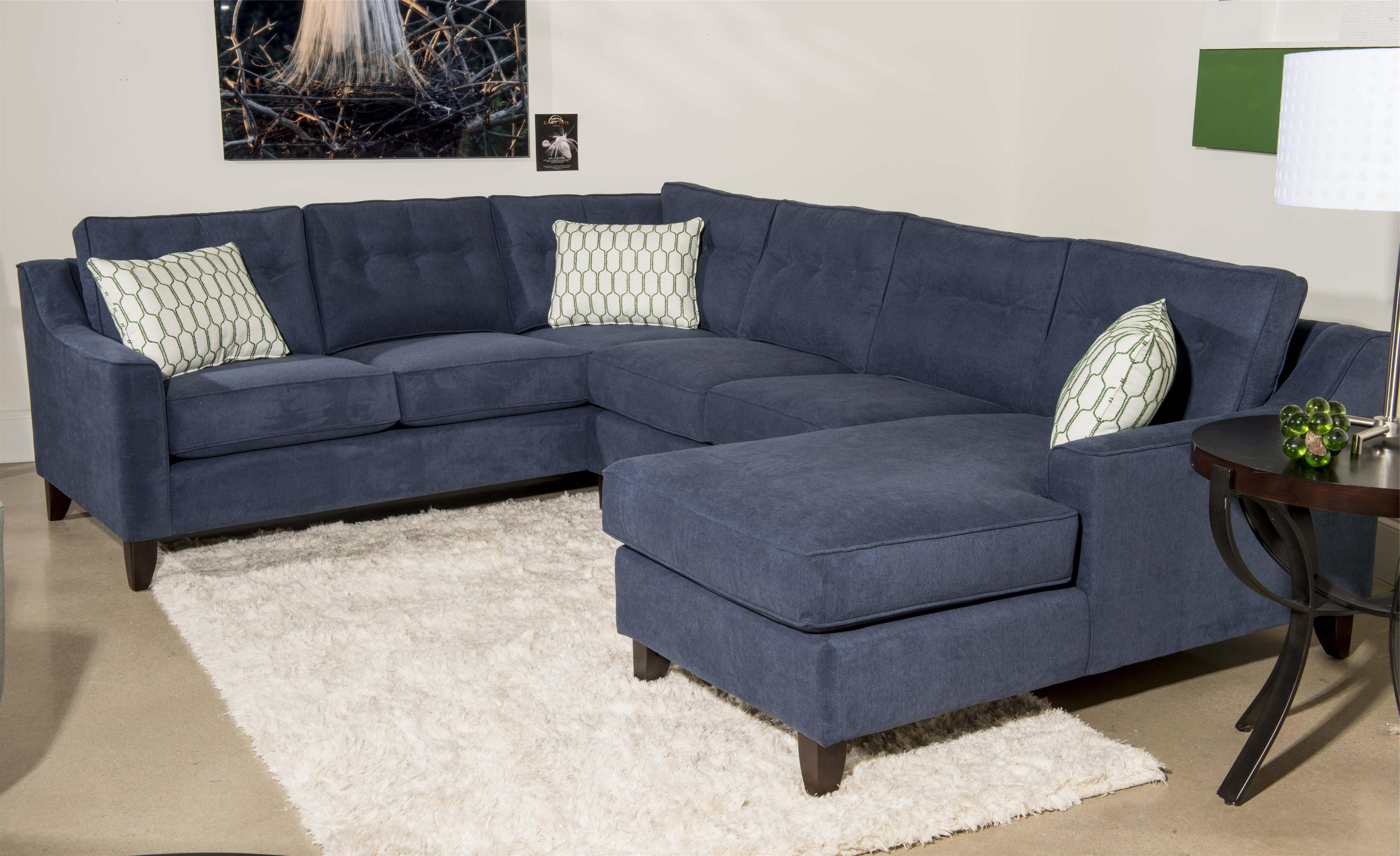 Best And Newest Blue Sectional Sofas With Klaussner Audrina Contemporary 3 Piece Sectional Sofa With Chaise (View 1 of 15)