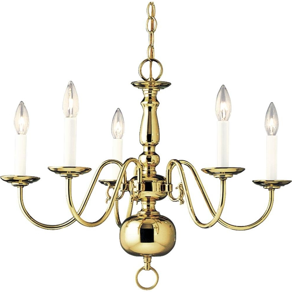 Best And Newest Brass Chandeliers Inside Progress Lighting Americana Collection 5 Light Polished Brass (View 7 of 15)
