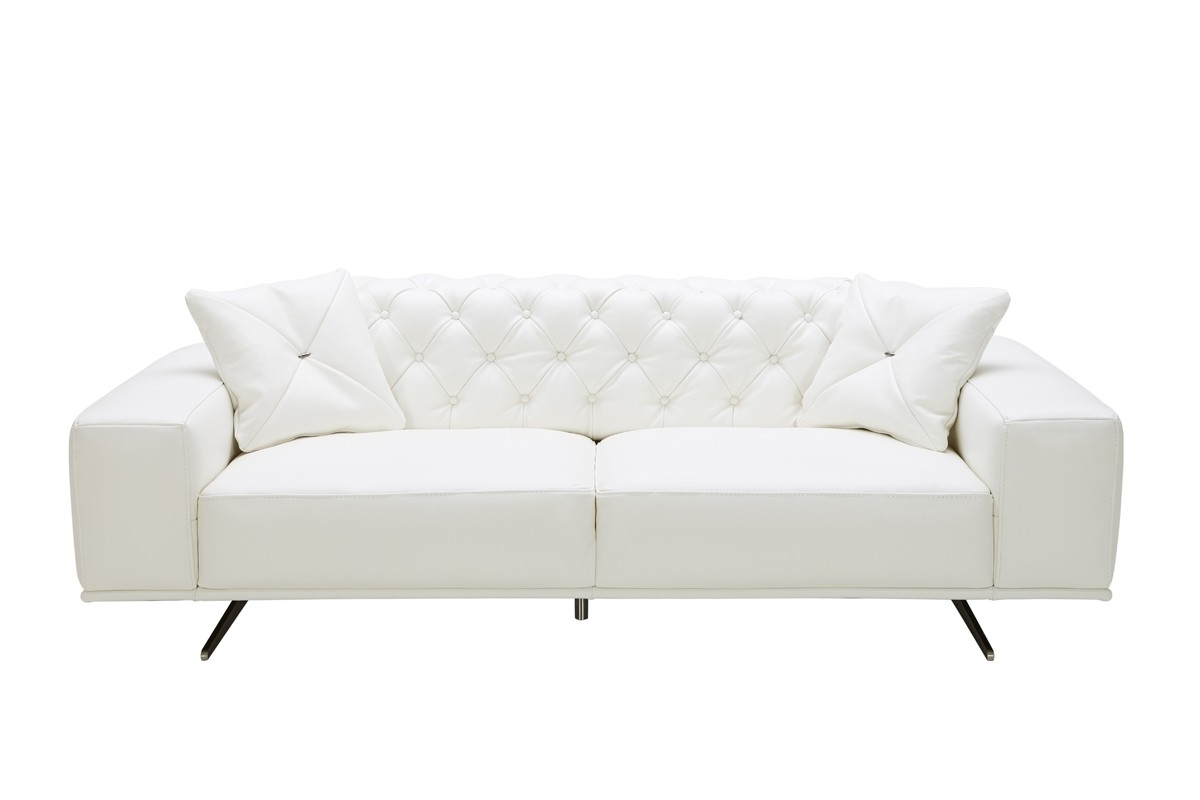 Best And Newest Casa Bartlett Modern White Leather Sofa With White Leather Sofas (View 6 of 15)