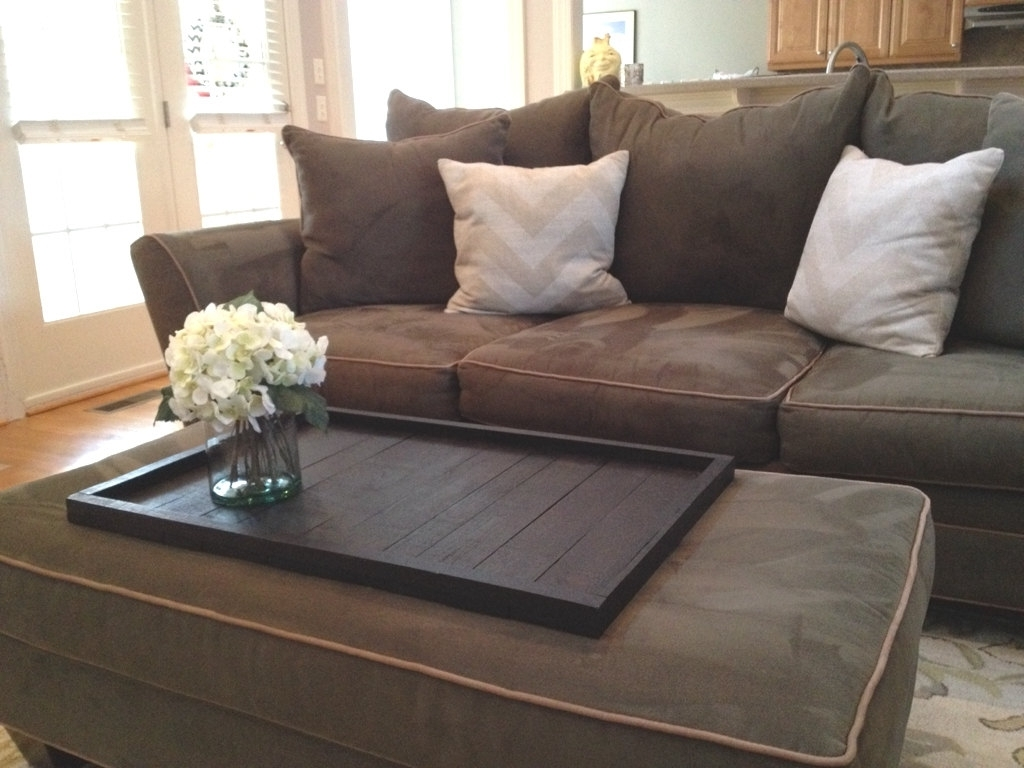 Best And Newest Couches With Large Ottoman Pertaining To Brown Leather Square Storage Ottoman : Serving Tray For Large (View 2 of 15)