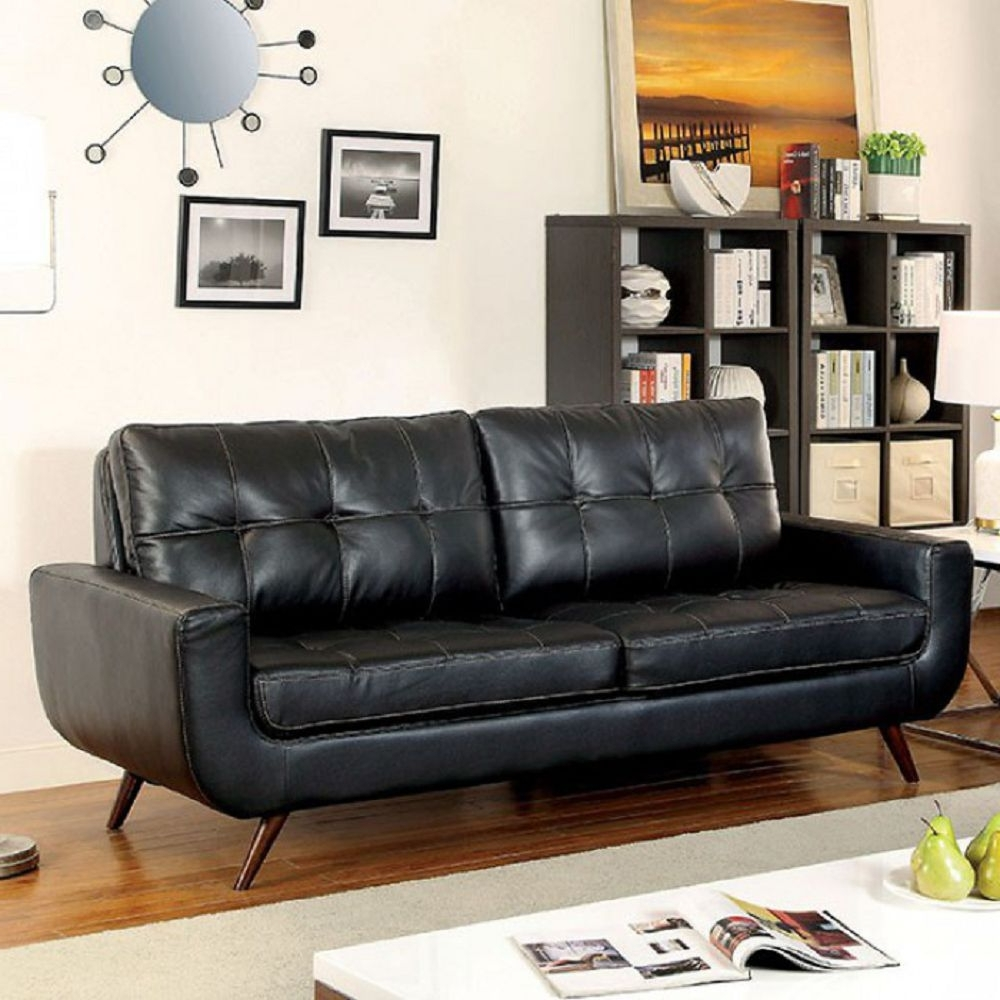 Best And Newest Farmers Furniture Sectional Sofas With Regard To Furniture : Coaster Full Size Sofa Sleeper In Black Leather (View 12 of 15)