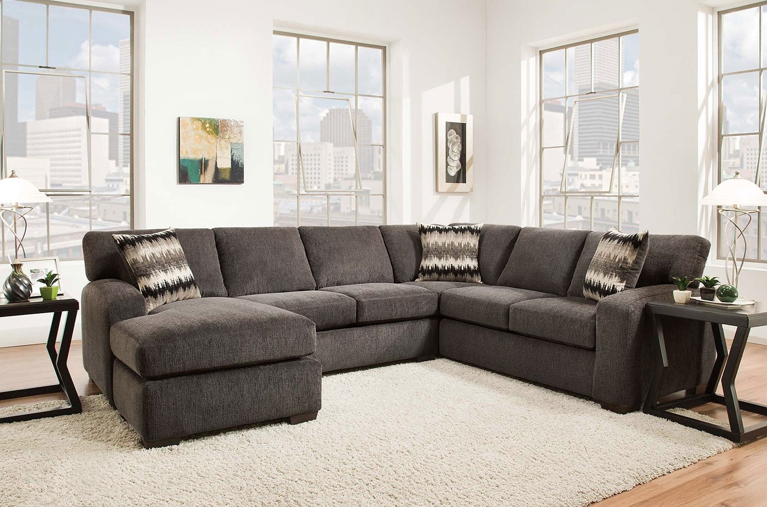Best And Newest Fenella 2 Piece Right Facing Sectional – Smoke (View 1 of 15)