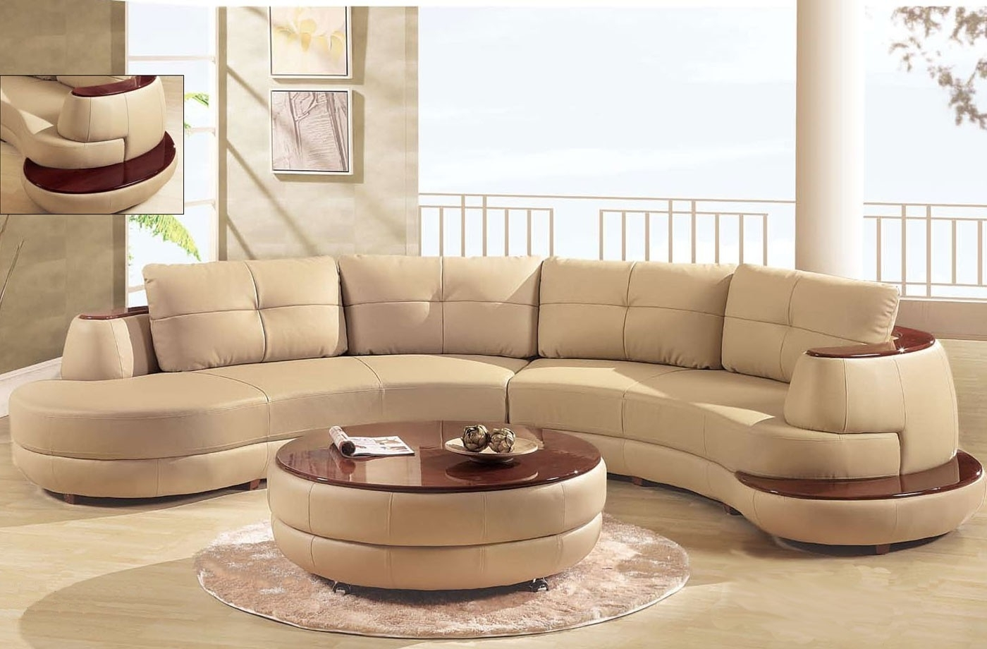 Best And Newest Furniture Living Room Curved Red Top Grain Leather Sectional Sofa Inside Circular Sectional Sofas (View 13 of 15)