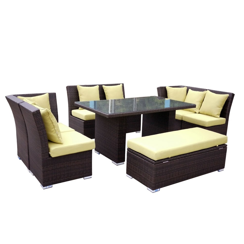 Best And Newest Jamaican Sofa And Dining Set In Brown Wicker, Light Green Fabric Regarding Jamaica Sectional Sofas (View 2 of 15)