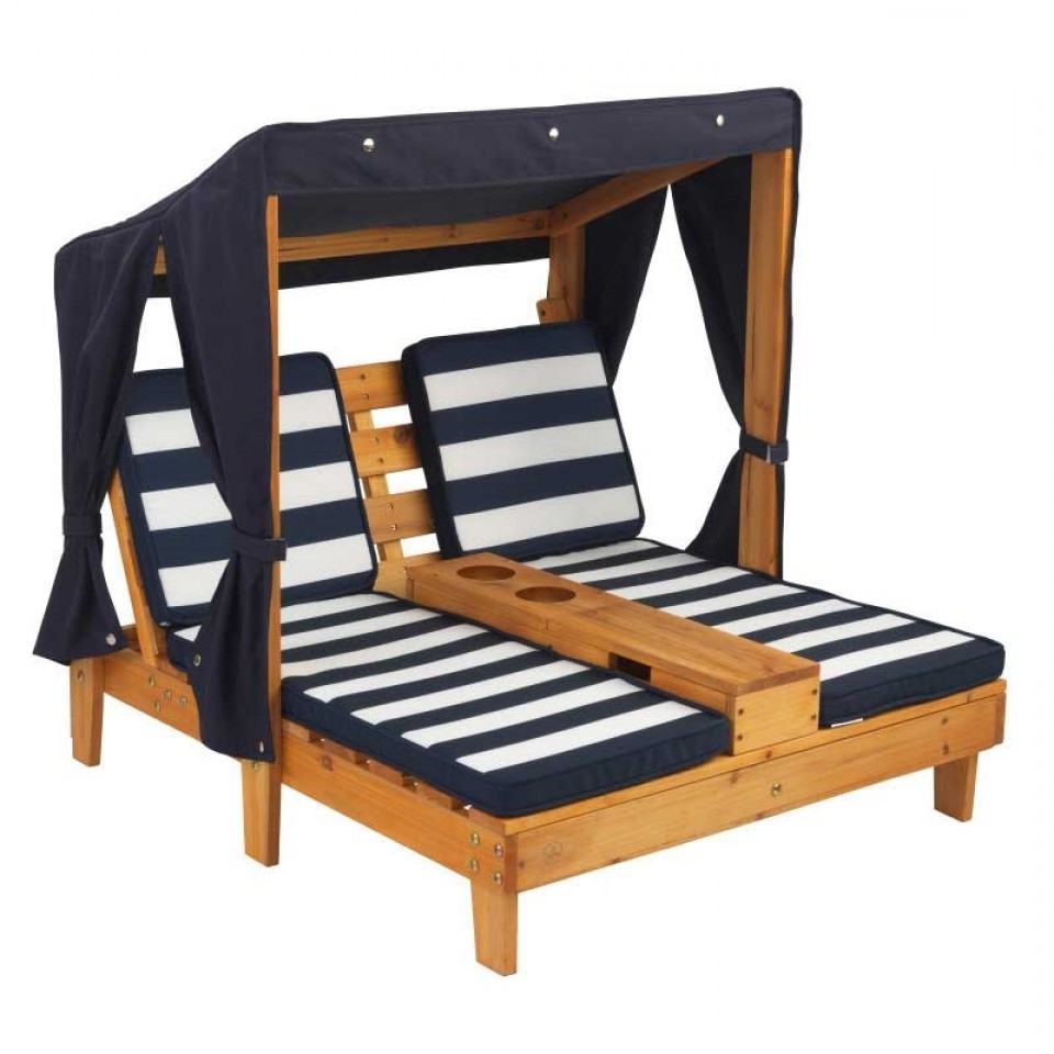 Best And Newest Kidkraft Chaise Lounges In Double Chaise Lounge With Cup Holders – Honey & Navy (View 6 of 15)