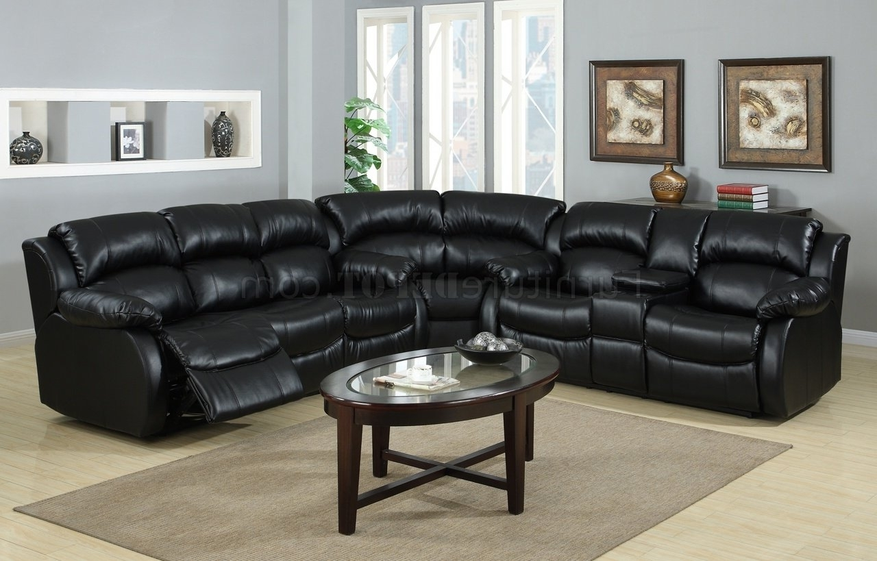 Best And Newest Leather Recliner Sectional Sofas Pertaining To 8000 Reclining Sectional Sofa In Black Bonded Leather (View 10 of 15)
