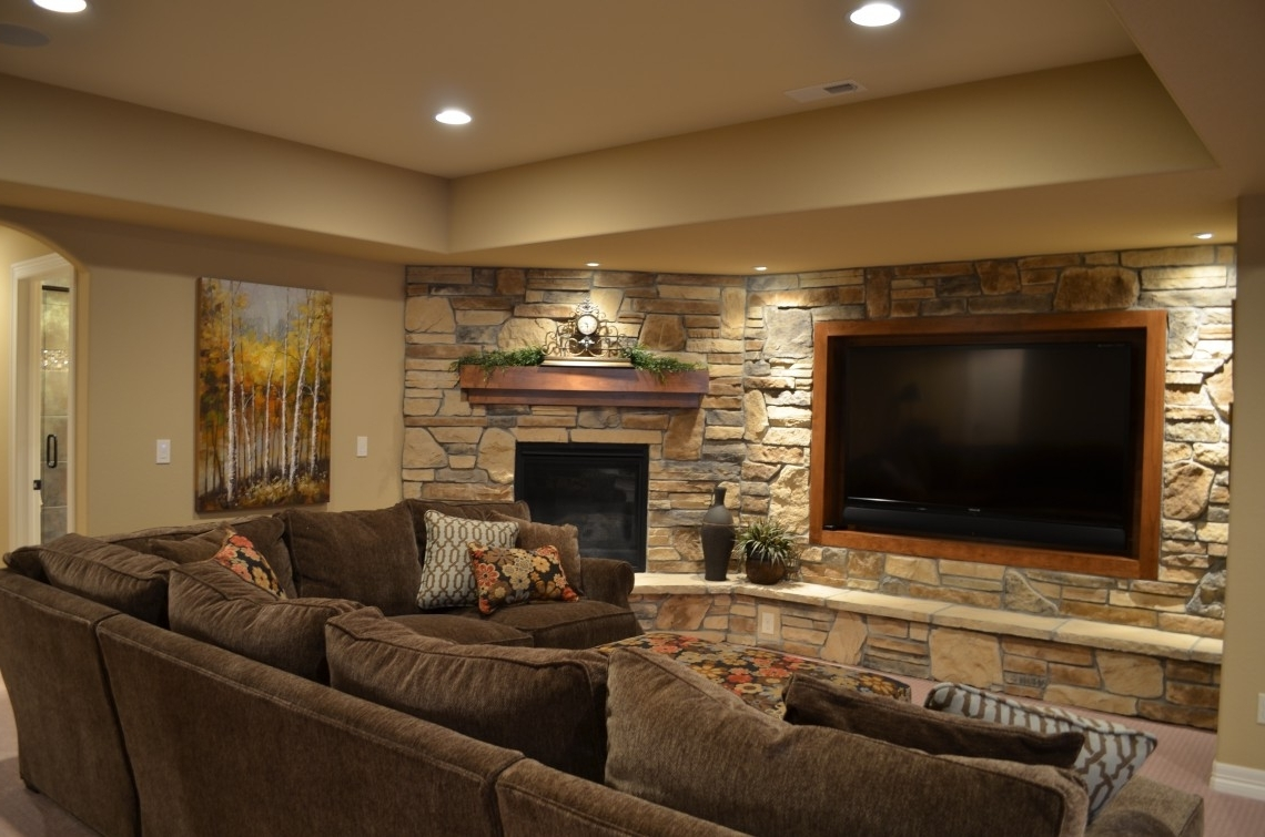 Best And Newest Media Room Sectional Sofas For Astonishing Stone Wall In Cool Basement Ideas For Media Room With (View 2 of 15)