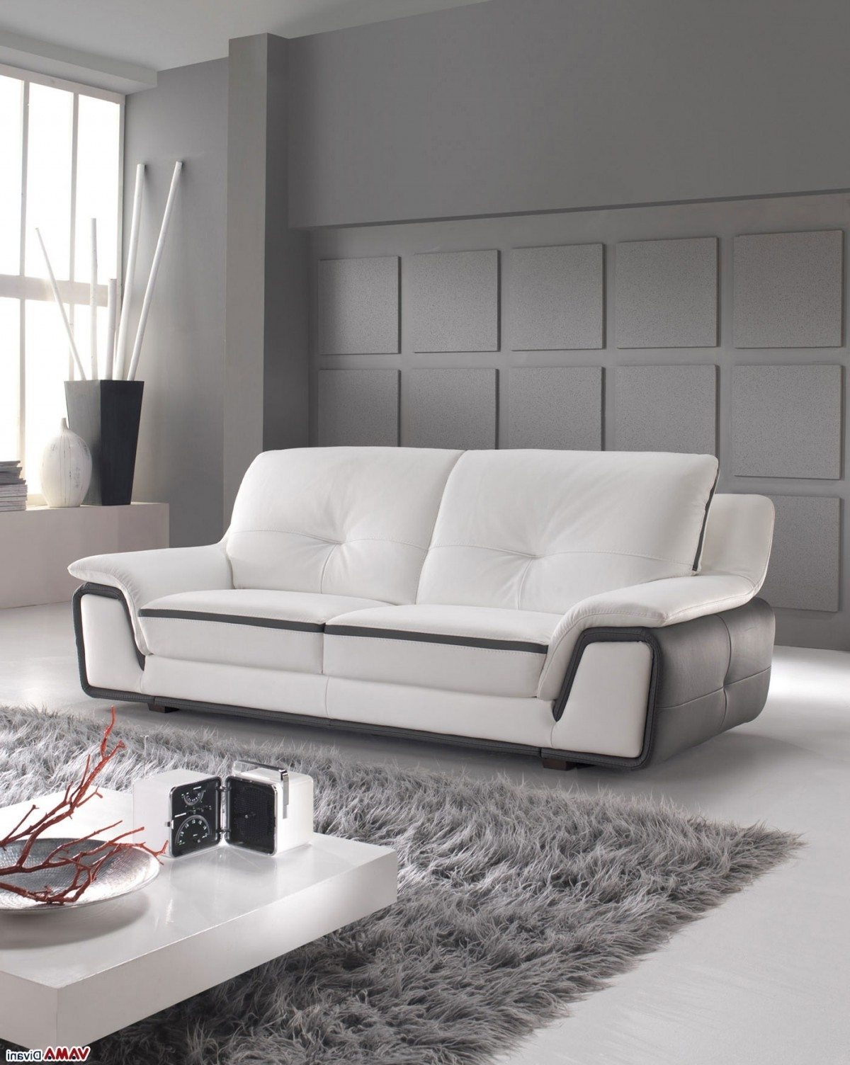 Best And Newest Modern 3 Seater Sofas Inside Contemporary Sofa In White And Grey Genuine Leather (View 2 of 15)