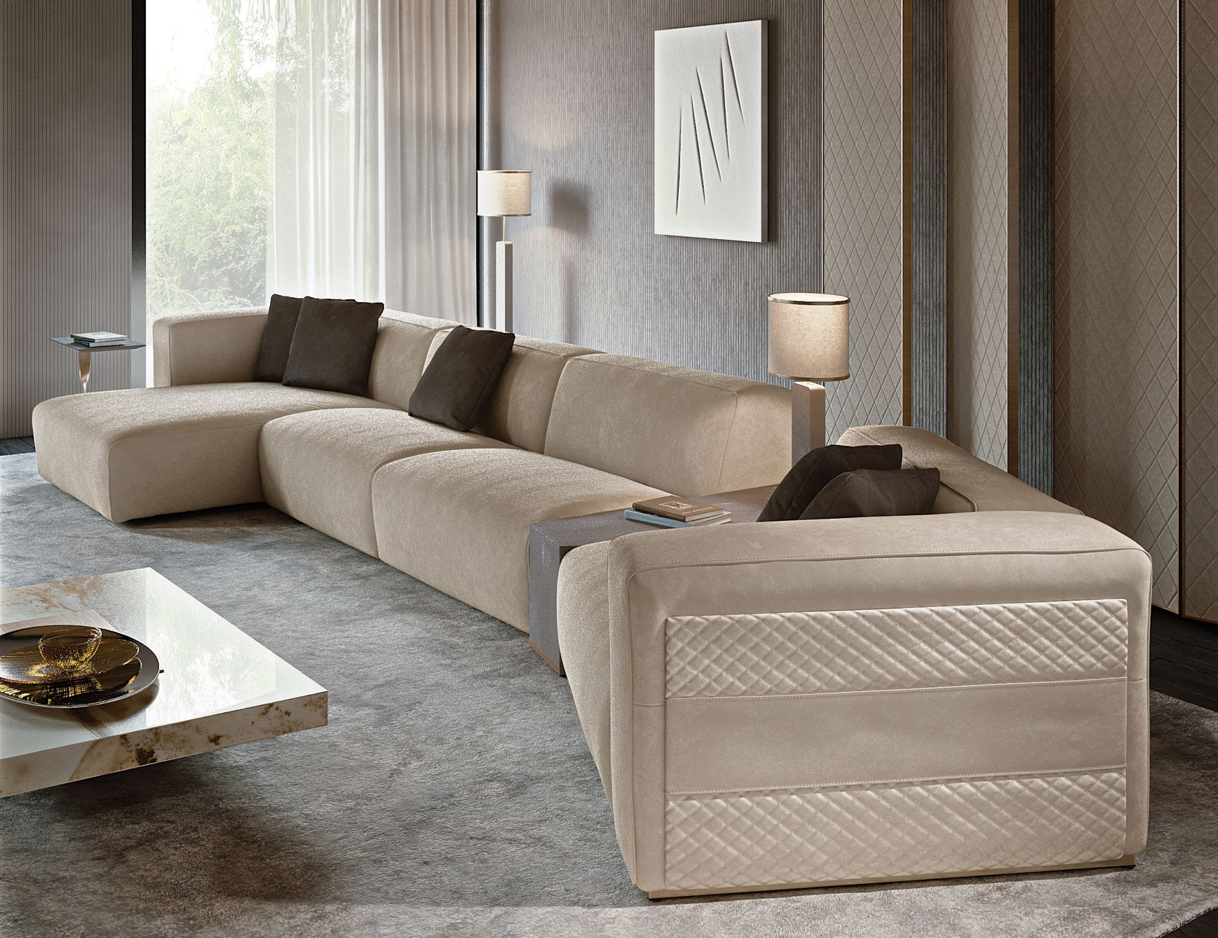 Best And Newest Nella Vetrina Rugiano Freud Sectional Sofa In Suede Pertaining To High End Sectional Sofas (View 3 of 15)