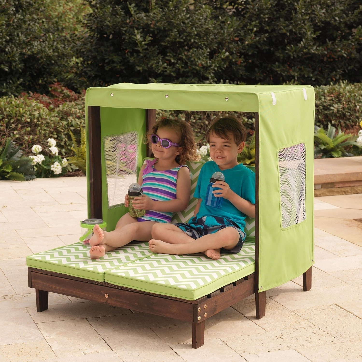Best And Newest Outdoor Chaise Lounge Chairs With Canopy Throughout Amazon: Kidkraft Outdoor Double Chaise Lounge Chair With (View 13 of 15)
