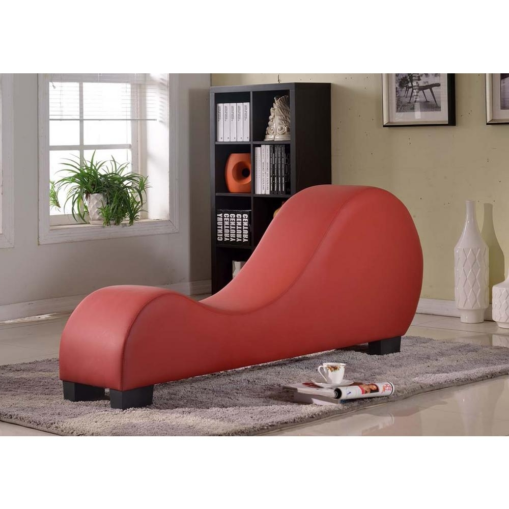 Best And Newest Red Faux Leather Chaise Lounge Cl 12 – The Home Depot With Regard To Leather Chaise Lounges (View 7 of 15)