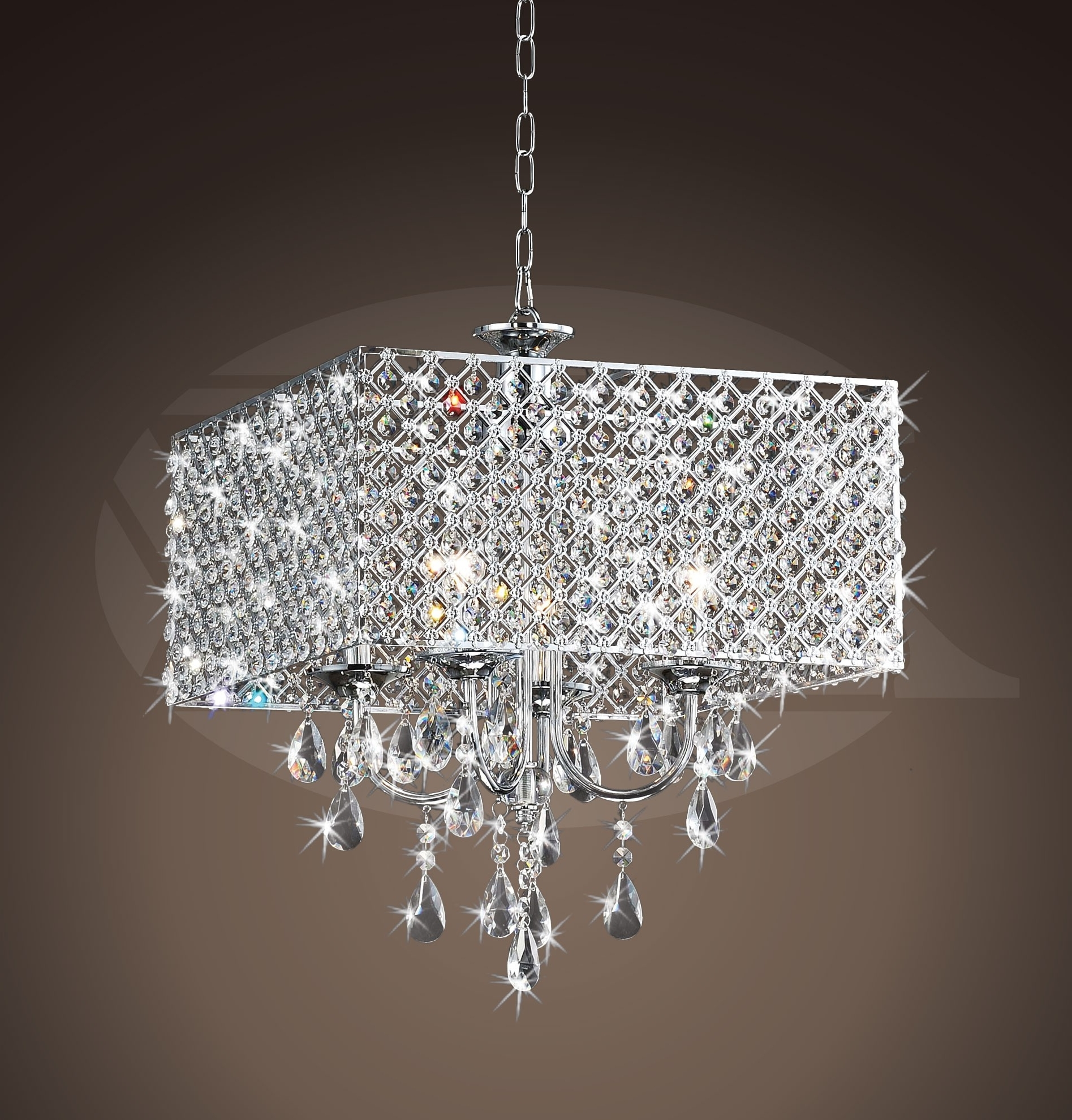 """Best And Newest Rosemary Elegant Crystal Chrome 4 Light Square Chandelier (16""""h X 17 With Regard To 4 Light Chrome Crystal Chandeliers (View 7 of 15)"""
