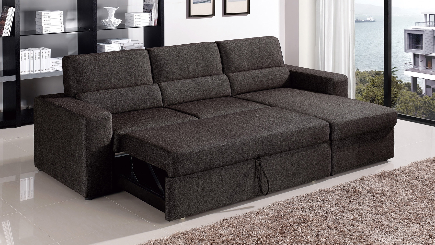 Best And Newest Sleeper Sofa Chaises Regarding Black/brown Clubber Sleeper Sectional Sofa (View 6 of 15)