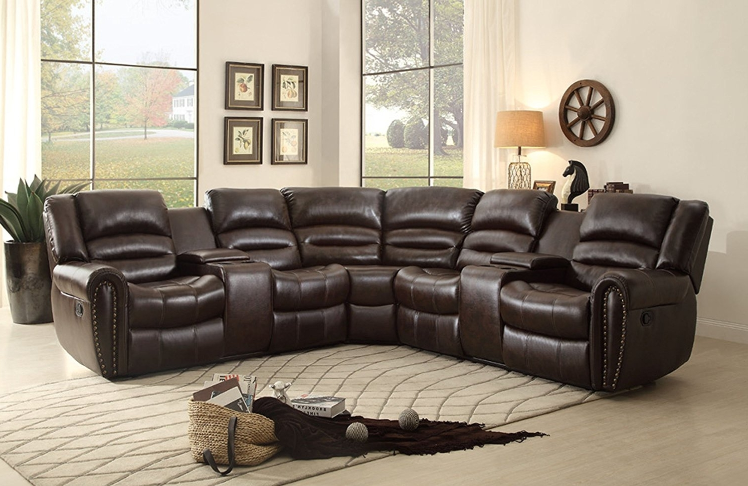 Best And Newest Sofa : Small Leather Sectional Sofa With Recliner Leather Recliner Pertaining To Sectional Sofas With Cup Holders (View 8 of 15)