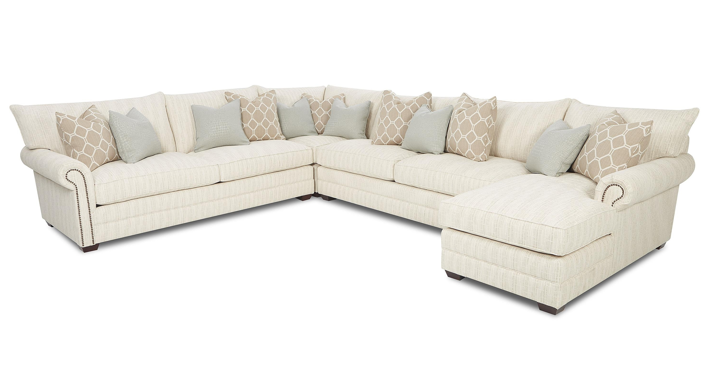 Best and Newest Traditional Sectional Sofa With Nailhead Trim And Chaise Lounge inside Sectional Sofas With Nailheads