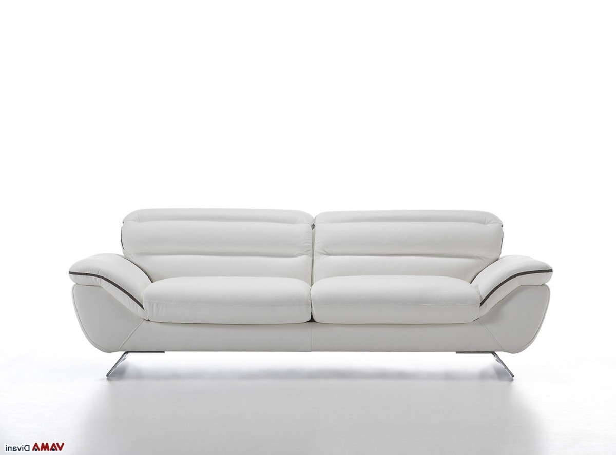 Best And Newest White Leather Sofas Within Contemporary White Leather Sofa With Steel Feet (View 5 of 15)